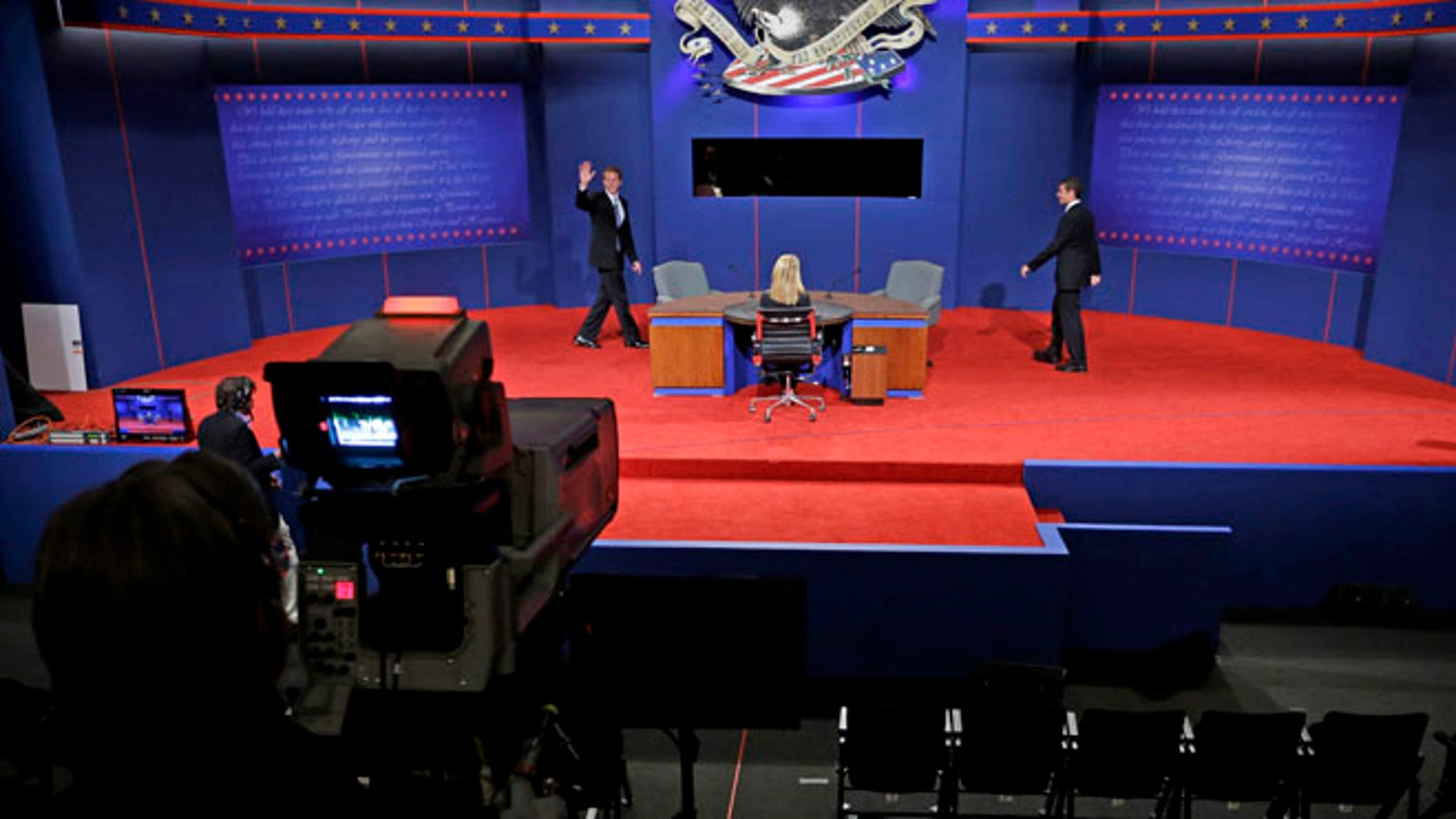 Oct. 10, 2012: Students posing as Vice President Biden and his Republican challenger, Rep. Paul Ryan, R-Wis., walk on stage during set-up for the vice presidential debate at Centre College in Danville, Ky.