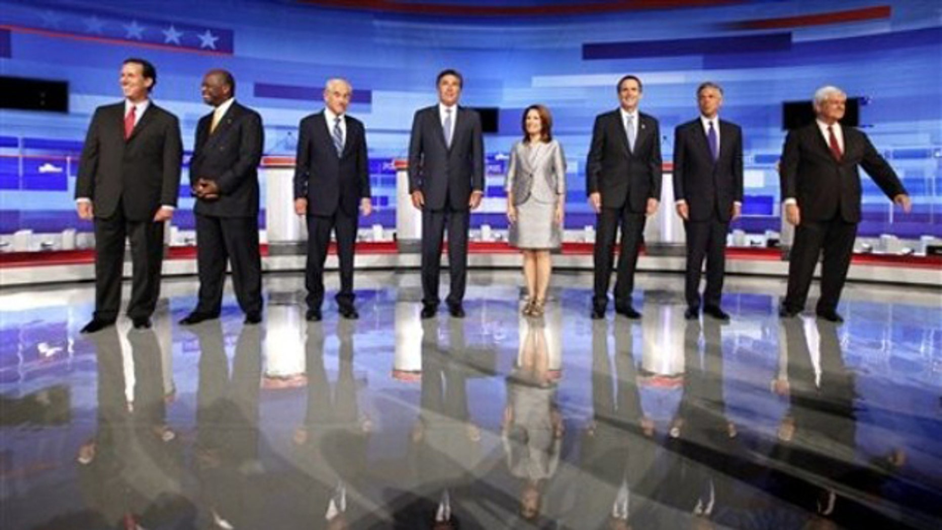 Republican presidential candidates line up before the start of the Iowa  GOP/Fox News/Google Debate in Ames, Iowa, Aug. 11.