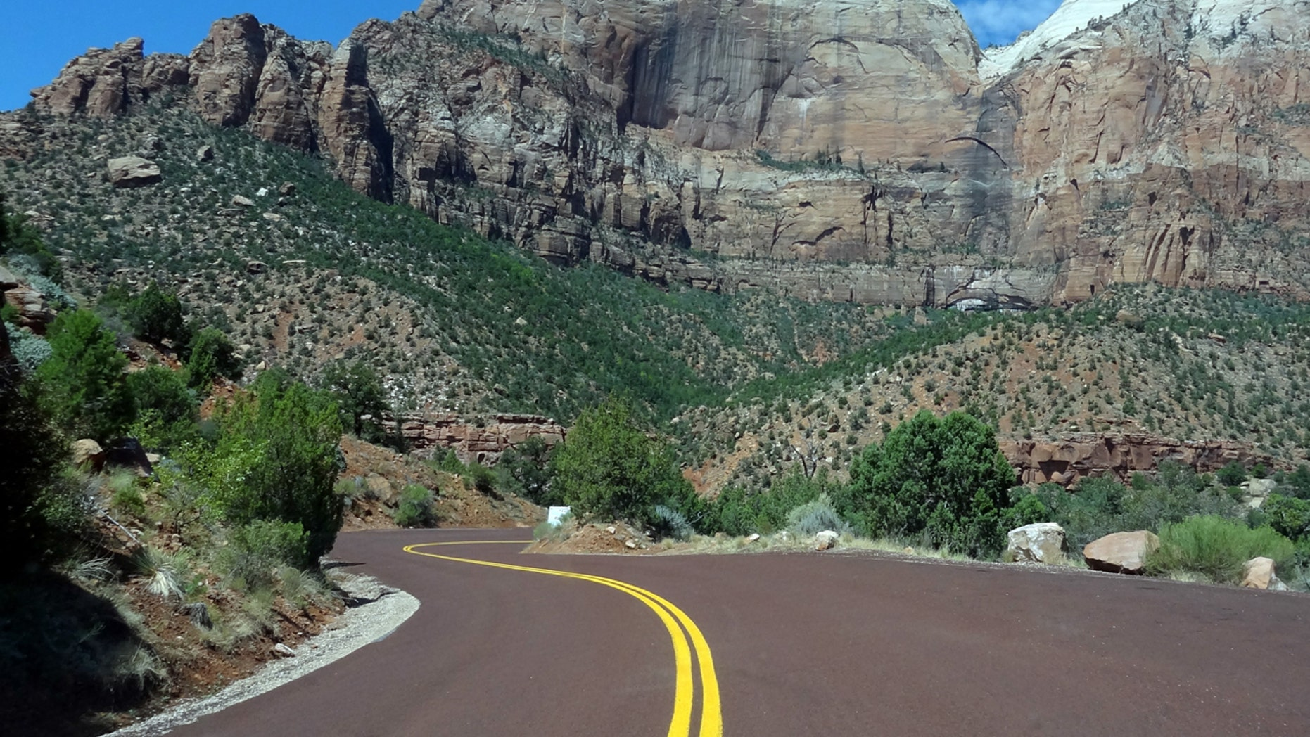 FILE: General view from the State Road 9 as it passes through the Zion national park.