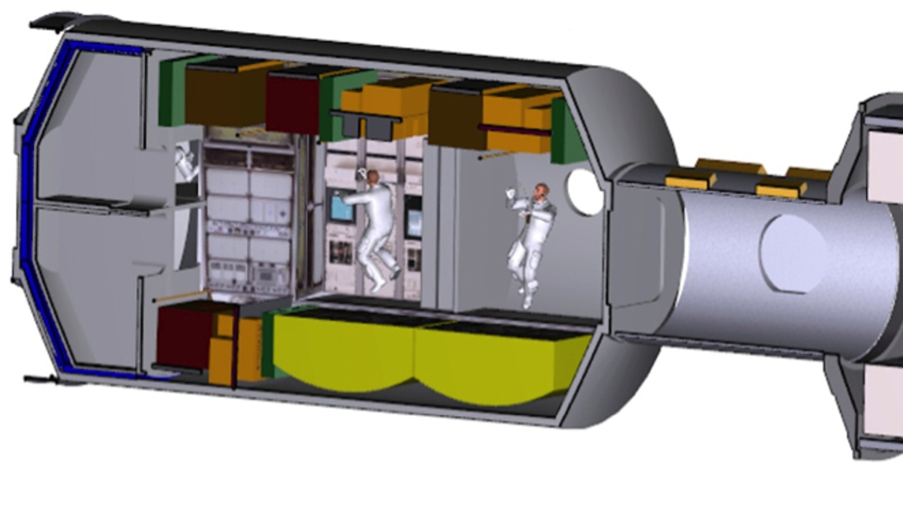 The ISS-derived Deep Space Habitat concept demonstrator evaluation will focus on the following elements, from left to right, Lab/Hab, tunnel, and Multi-Purpose Logistics Module. (NASA)