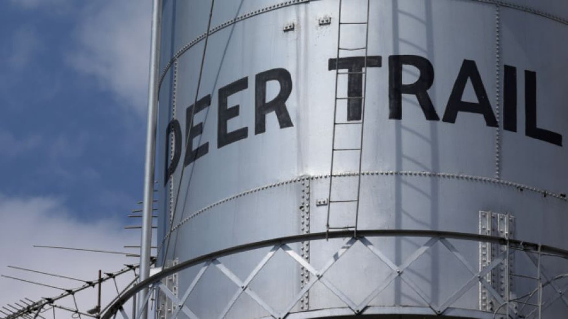 Aug. 22, 2013: This photo shows the local water tower in Deer Trail, Colo., population 500.