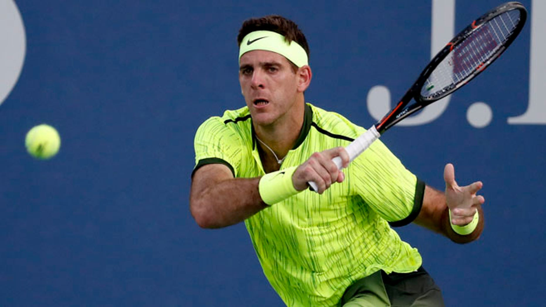 Juan Martin del Potro returns a shot to Diego Schwartzman at the U.S. Open , Tuesday, Aug. 30, 2016, in New York.