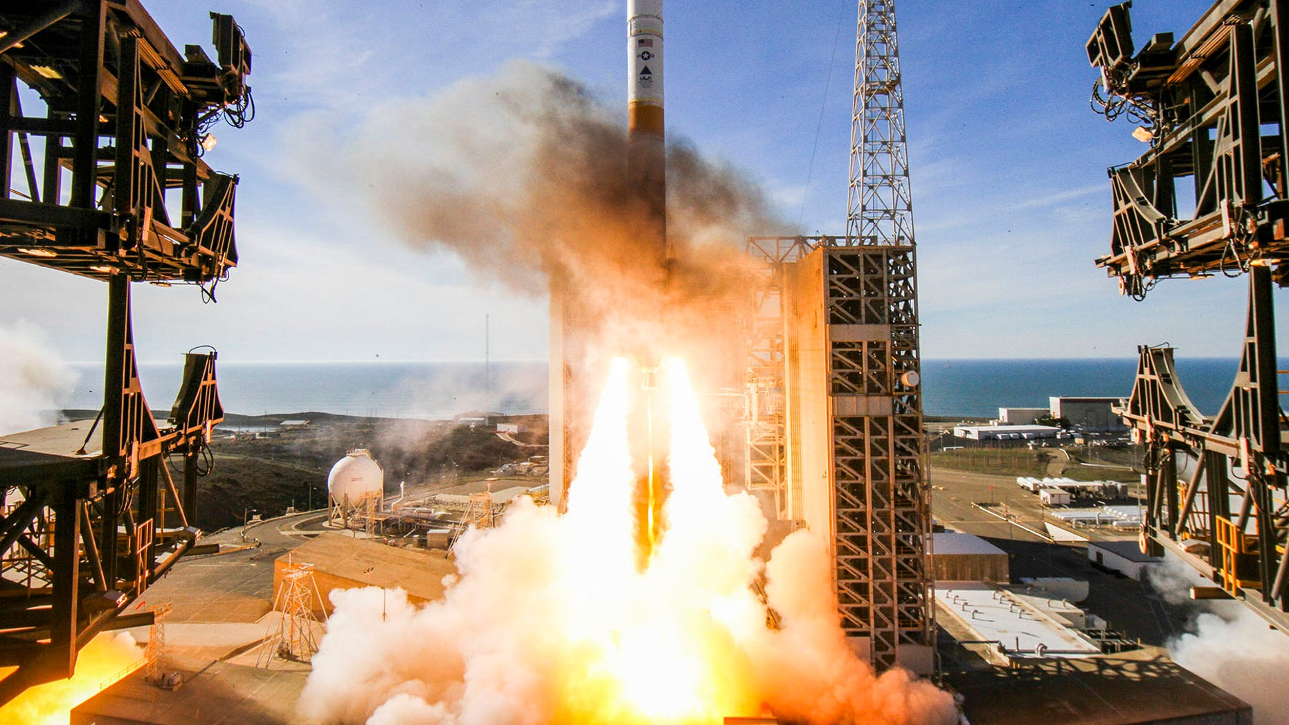 A United Launch Alliance Delta IV rocket carrying the classified NROL-47 spy satellite launches from Space Launch Complex-6 at Vandenberg Air Force Base in California on Jan. 12, 2018.