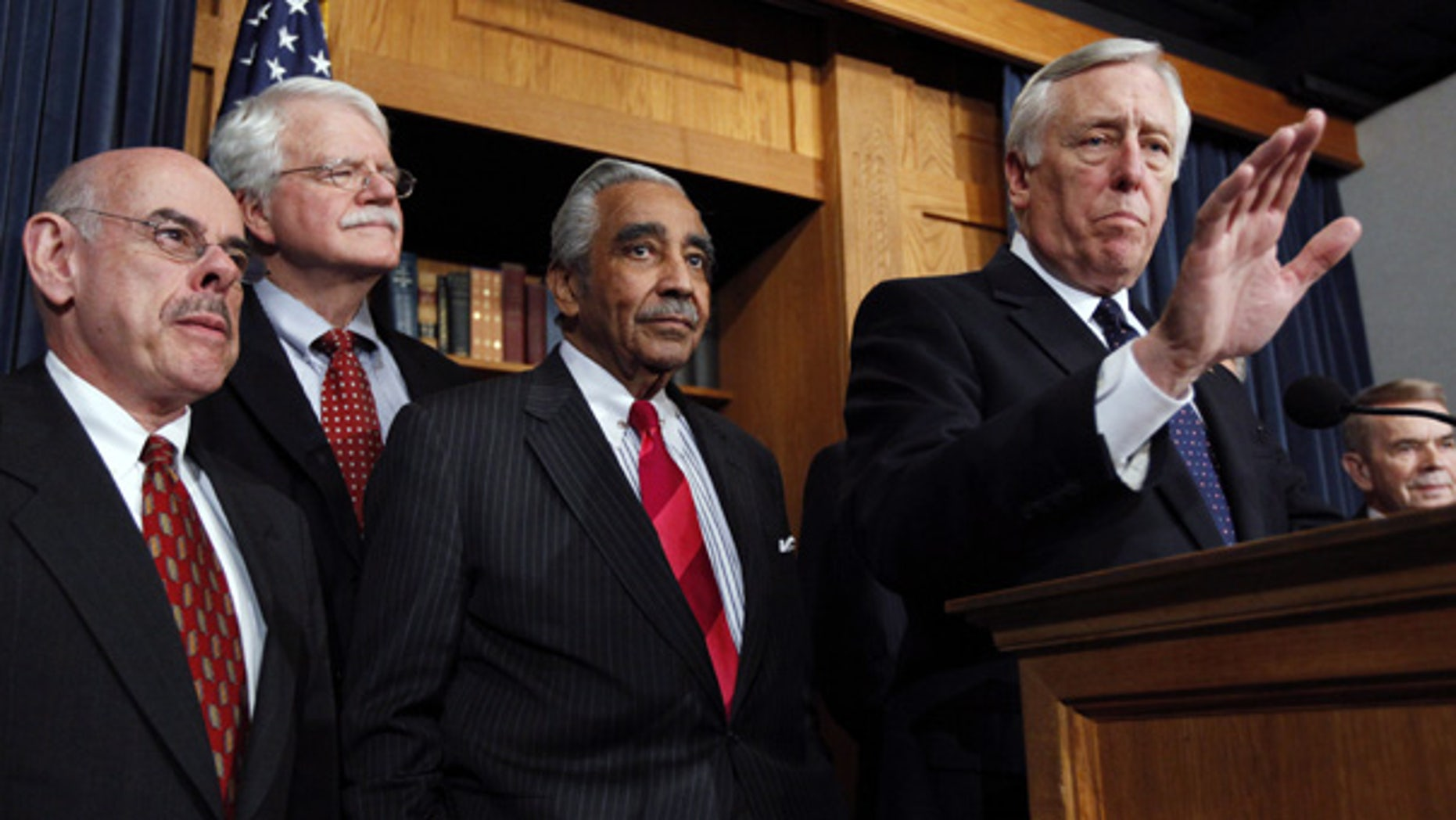 Mar. 25: House Majority Leader Steny Hoyer, front right, and other House Democrats speak to the media following the passage of the health overhaul bill.