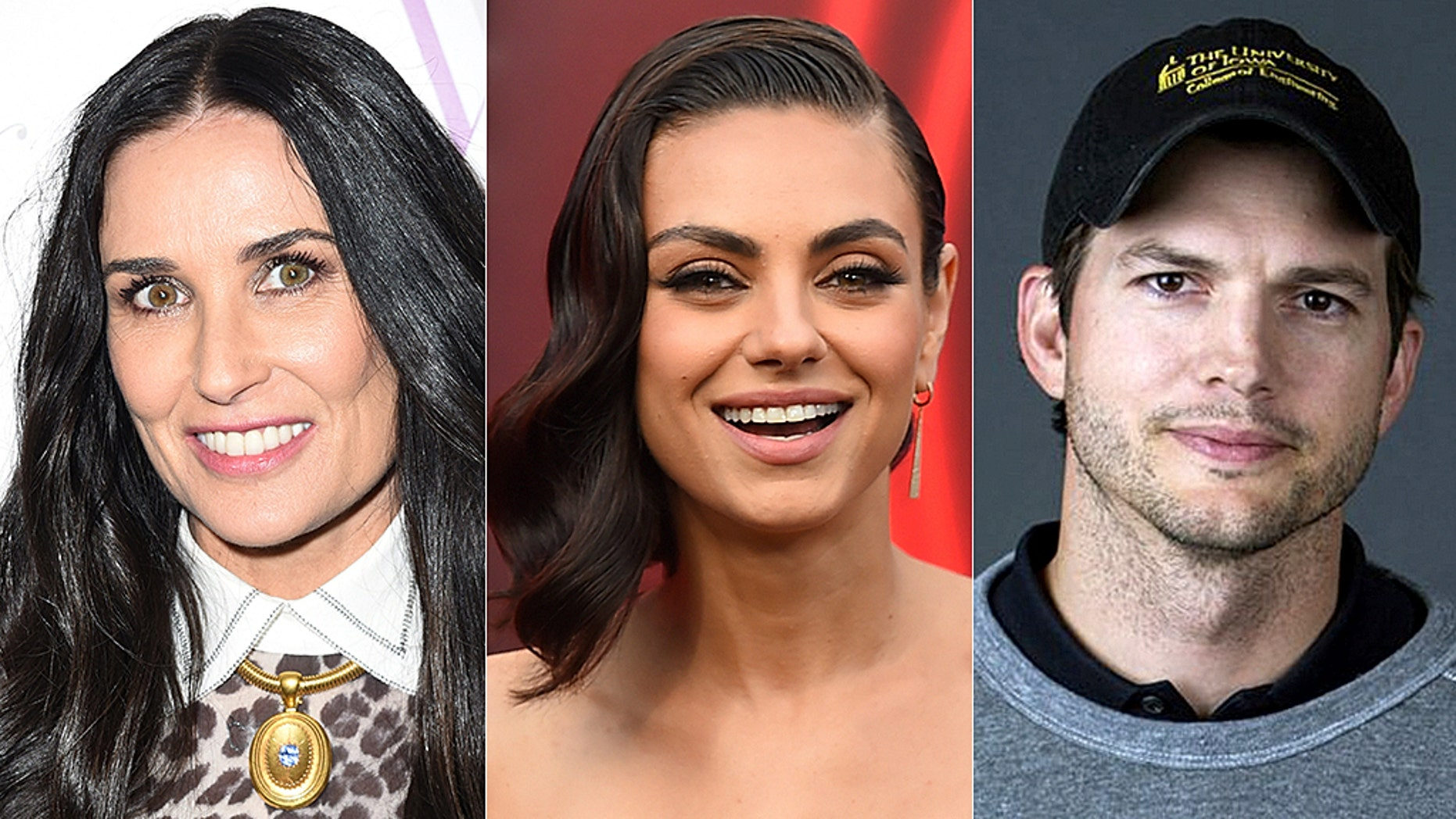 Mila Kunis (center) opened up about husband Ashton Kutcher's former marriage to Demi Moore.