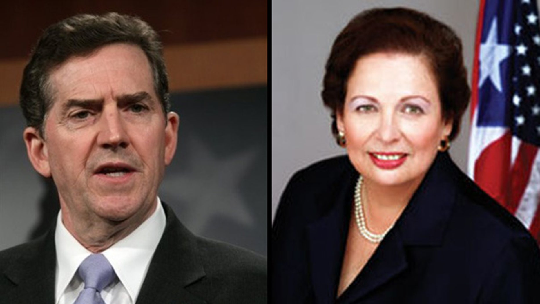 Sen. Jim DeMint, R-S.C. (r) forced the Senate Foreign Relations Committee to delay a hearing scheduled this week on the nomination of Mari Carmen Aponte (l) until next Wednesday. (AP/U.S. GOV)