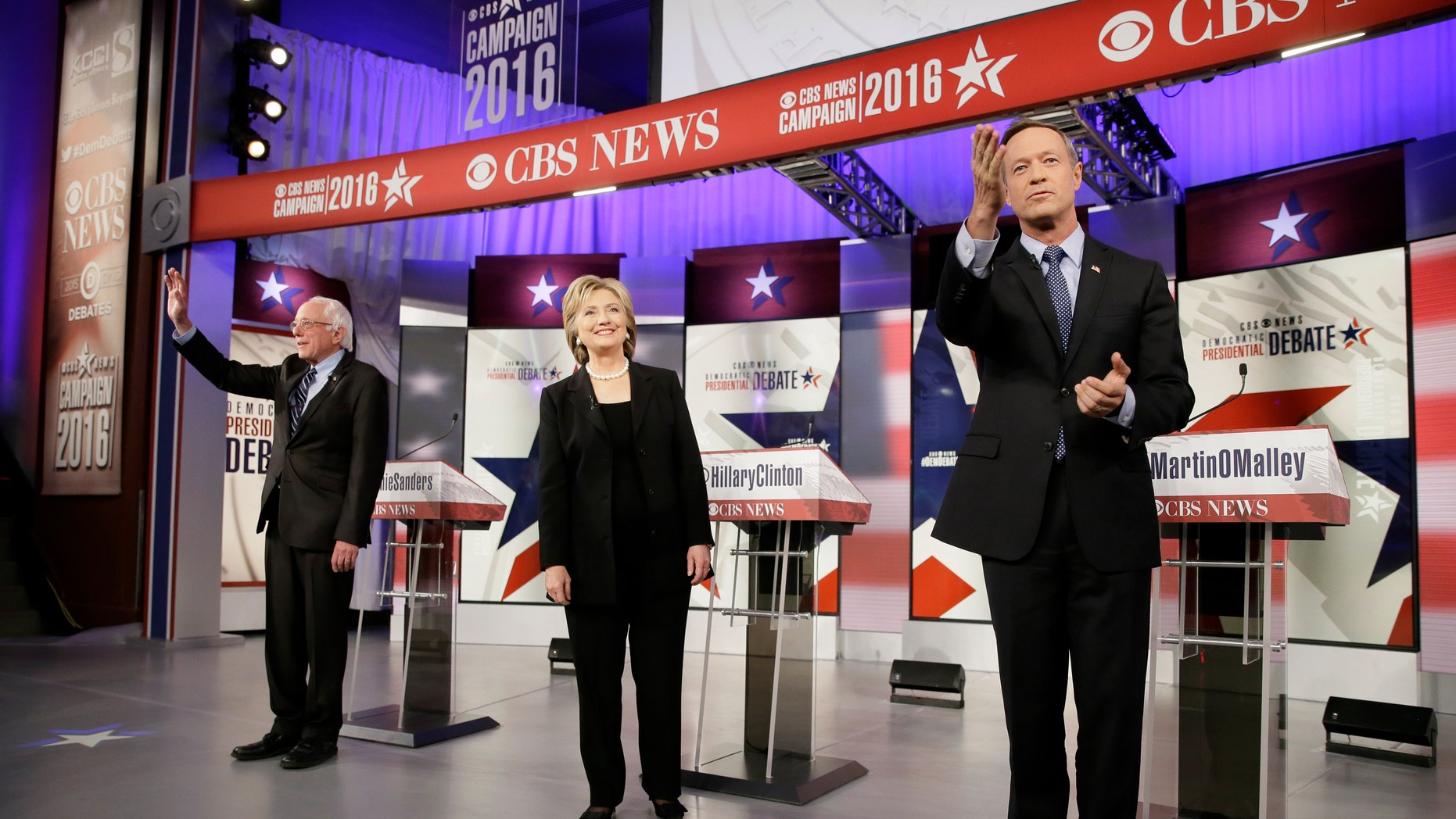 Nov. 14, 2015 - FILE photo of Democratic presidential candidates, from left, Bernie Sanders, Hillary Clinton and former Gov. Martin O'Malley taking the stage before a Democratic presidential primary debate in Des Moines, Iowa. (AP)