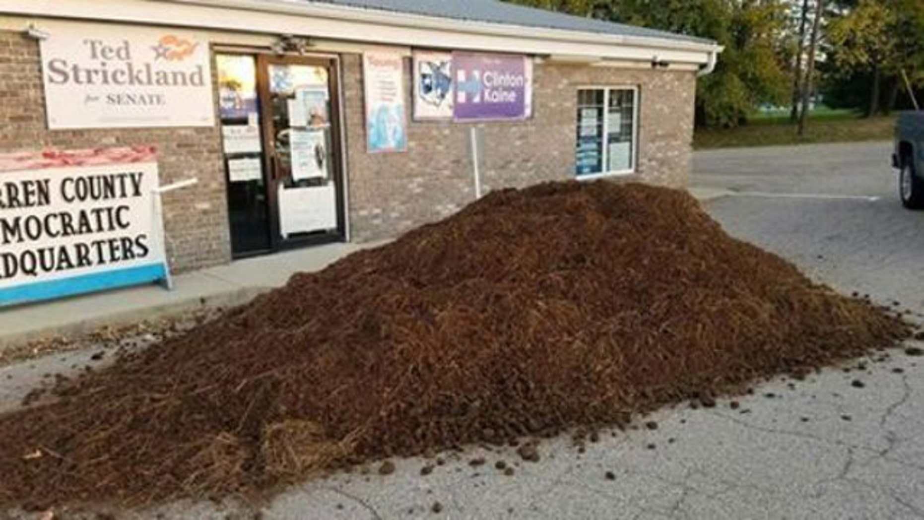 Oct. 29, 2016: This photo shows a pile of manure that was dumped outside the headquarters of the Warren County, Ohio Democratic Party