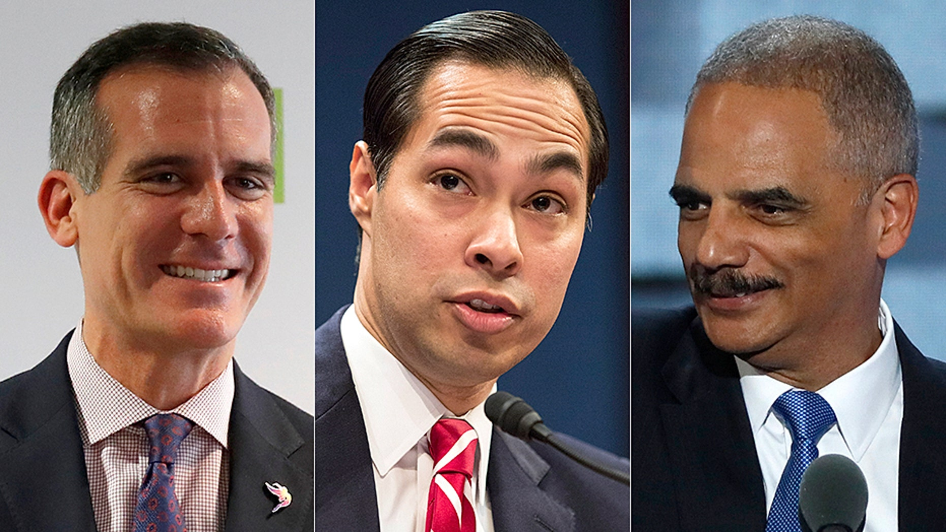 Los Angeles Mayor Eric Garcetti, left, Julian Castro, center, and former Attorney General Eric Holder, right, are making trips to New Hampshire--the state holds the first presidential primary in the nation.