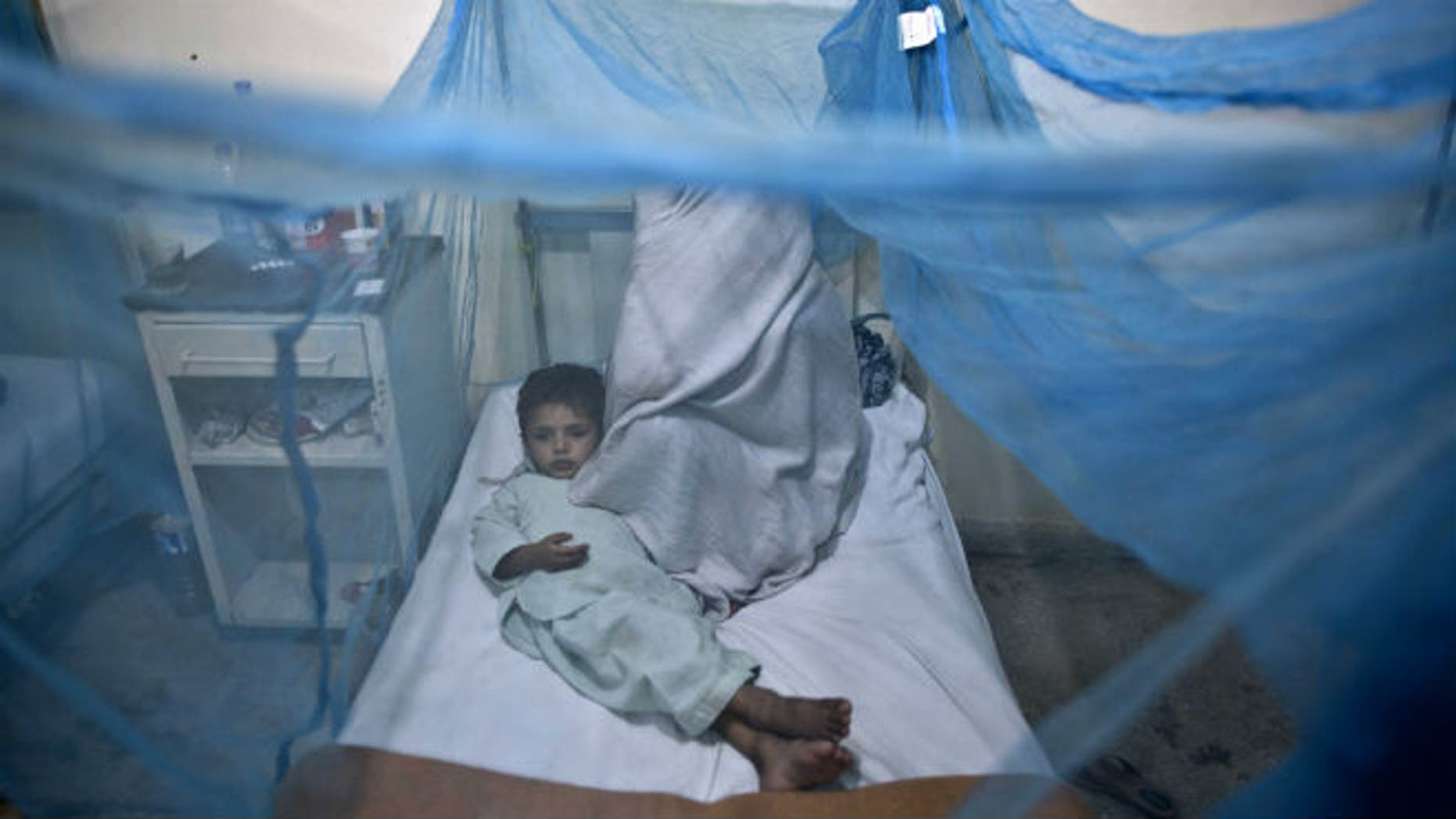 In this file photo taken Monday, Nov. 11, 2013, a Pakistani child suffering from the mosquito-borne disease, dengue fever, lies in a bed, next to his mother, covered with a net at an isolation ward of a hospital in Rawalpindi, Pakistan. (AP Photo/Muhammed Muheisen, File)