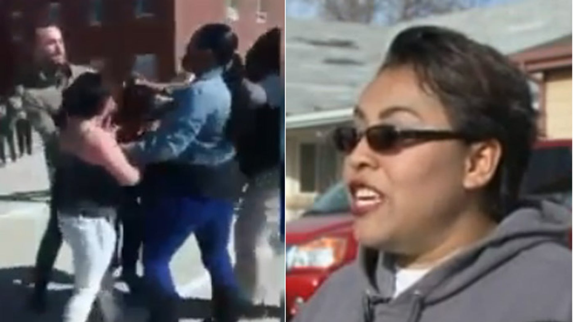 Jeanette Velasquez, (r.), says he daughter has been bullied into fights promoted on Facebook, like the one seen at left. (Fox31 Denver)