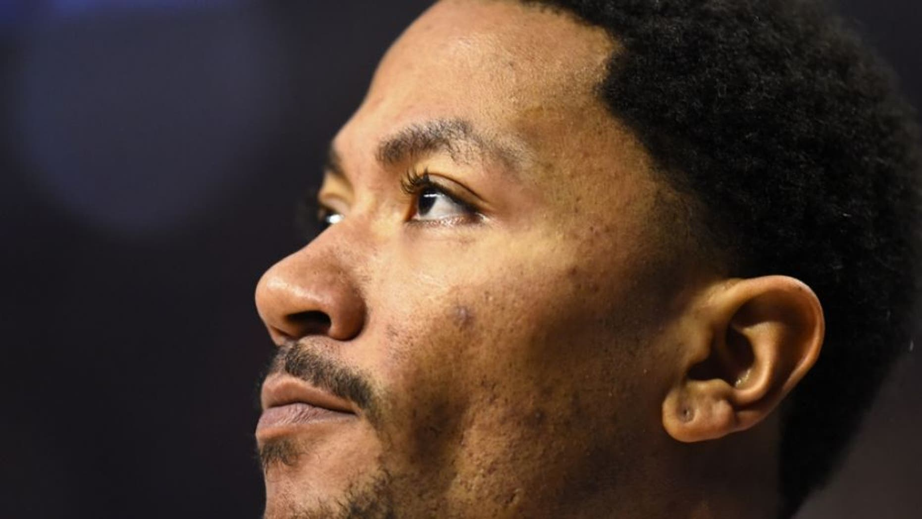 Mar 23, 2016; Chicago, IL, USA; Chicago Bulls guard Derrick Rose (1) looks on during the first half against the New York Knicks at the United Center. Mandatory Credit: Mike DiNovo-USA TODAY Sports