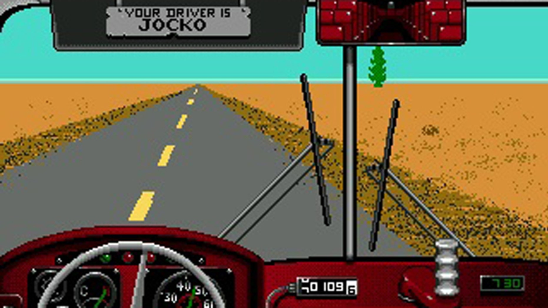 A screenshot from Desert Bus, an unreleased video game from comedians Penn and Teller that tasks the player with the most boring drive imaginable.