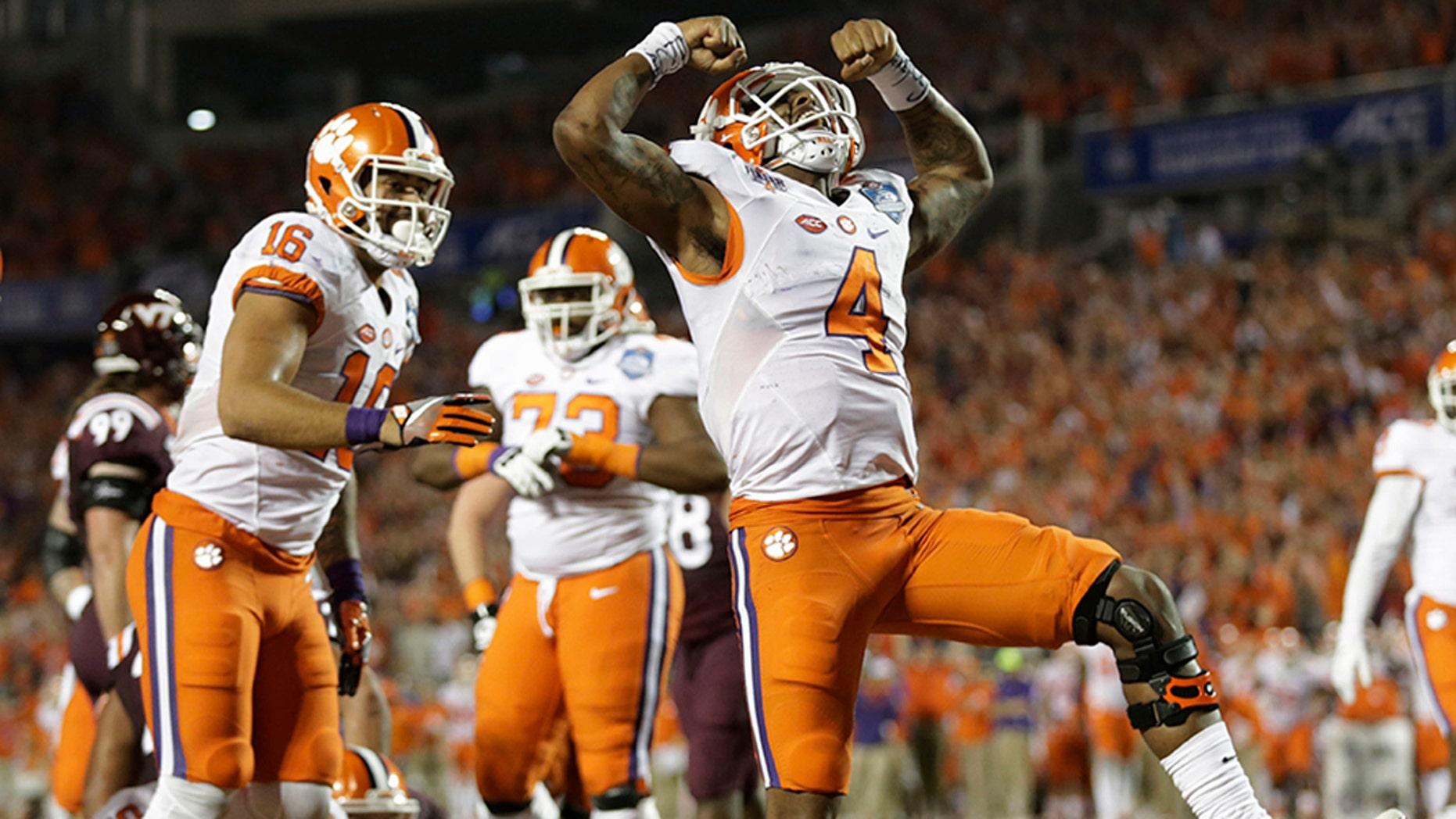 Dec. 3, 2016: Clemson quarterback Deshaun Watson (4) celebrates his touchdown during the second half of the ACC championship game against Virginia Tech in Orlando, Fla.