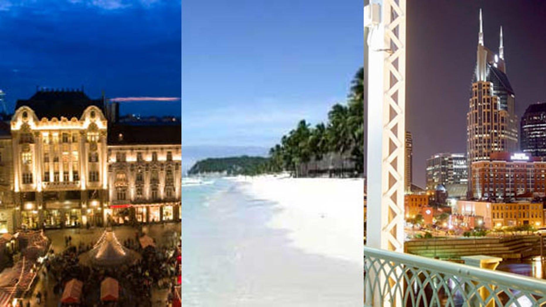 Top 2013 destinations include Bratislava,  Boracay Island and closer to home --Nashville.