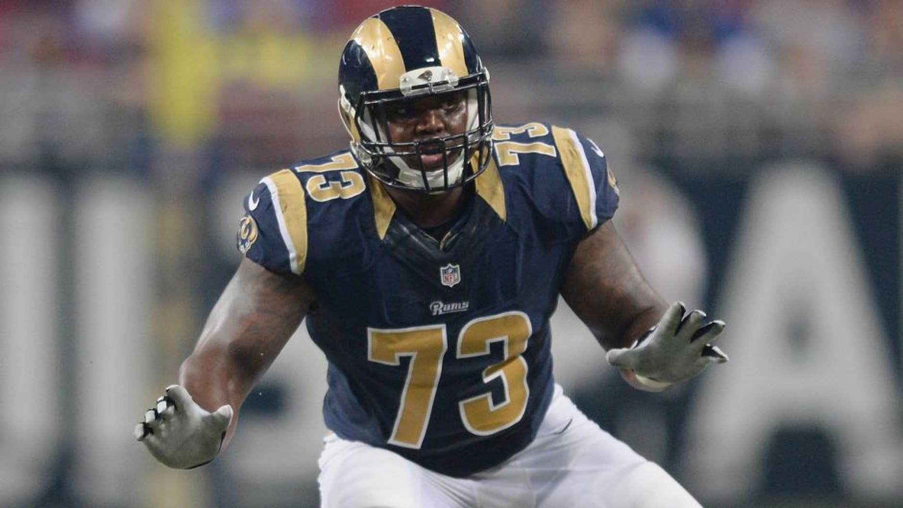 ST. LOUIS, MO - DECEMBER 13: Greg Robinson #73 of the St. Louis Rams against the Detroit Lions at the Edward Jones Dome on December 13, 2015 in St. Louis, Missouri. (Photo by Michael B. Thomas/Getty Images)