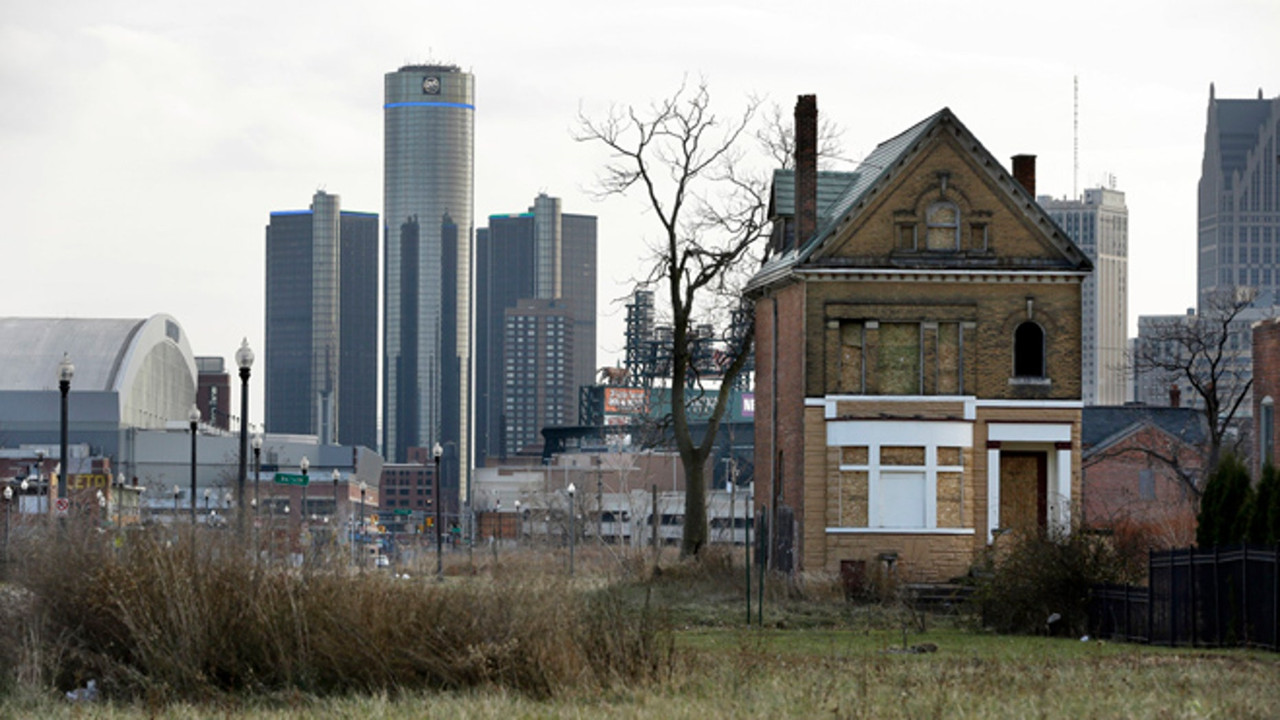 Dec. 2, 2013: Shown in the background is downtown Detroit.