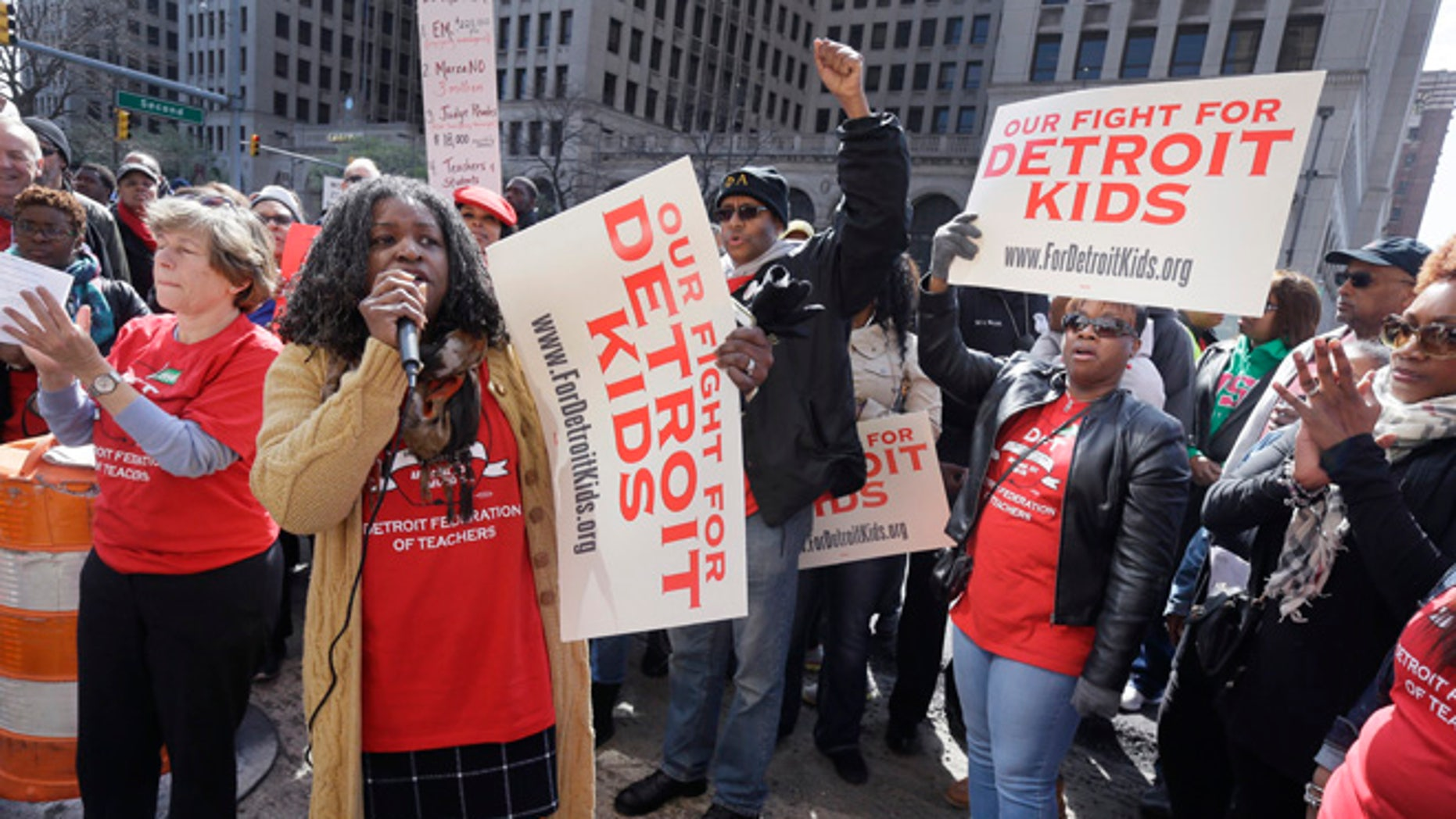 Detroit Federation of Teachers President Ivy Bailey outside the school district's headquarters on Tuesday.