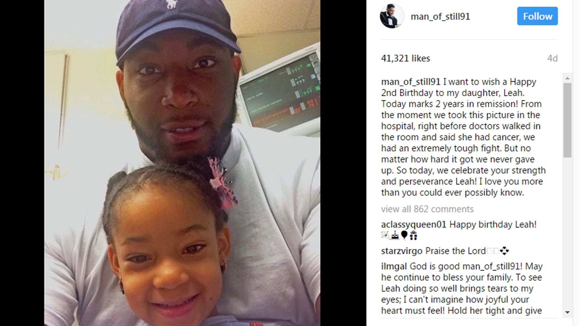 Leah Still and her father celebrated her second year in remission.