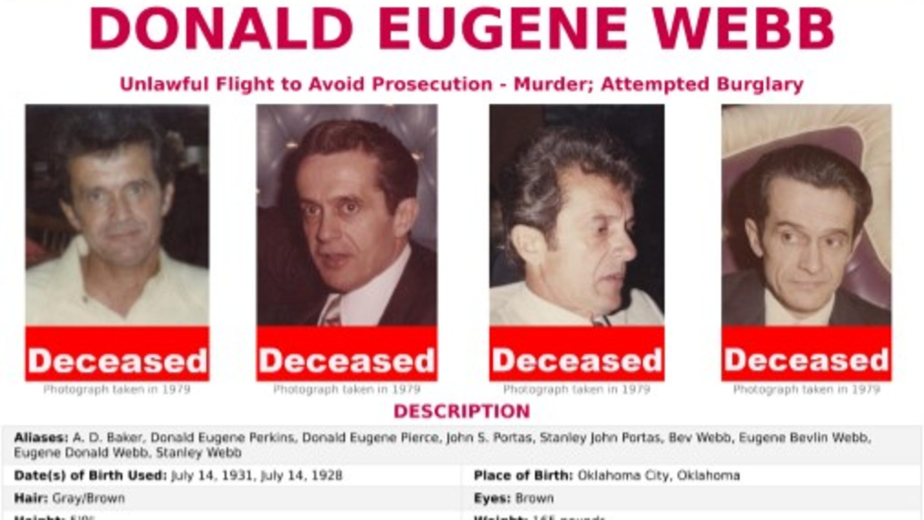 The remains of Donald Eugene Webb, a fugitive accused of killing a police chief in 1980, were discovered in a yard in Massachusetts, authorities confirmed on Friday.