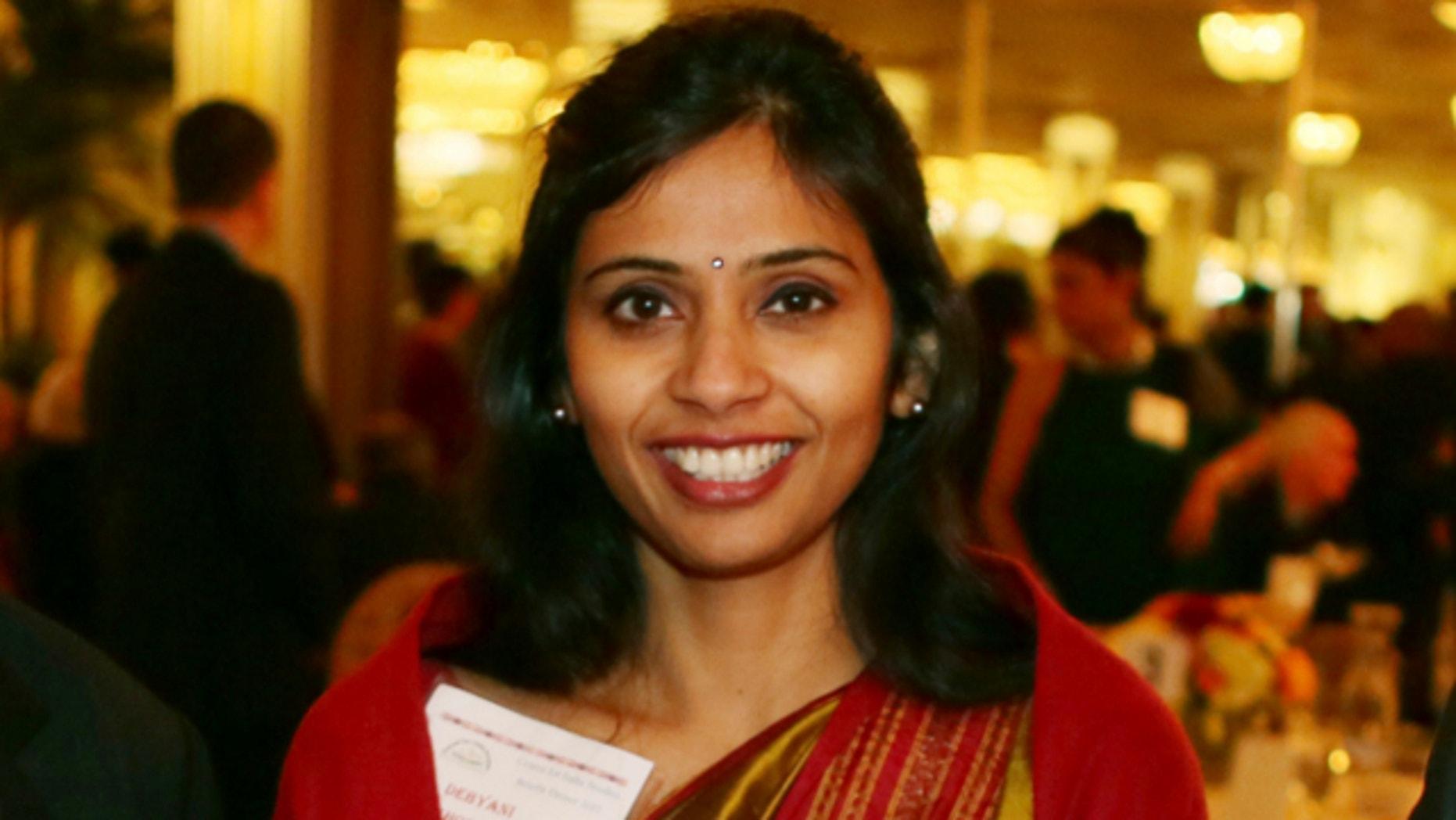 FILE: Dec. 8, 2013: Devyani Khobragade, India's deputy consul general, is shown during a Stony Brook University fundraiser on Long Island in Stony Brook, N.Y.