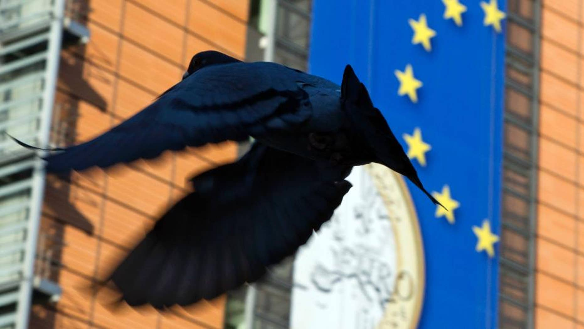 WITH STORY BRITAIN EU FUTURE - In this Nov. 20, 2012 file photo, a bird flies in front of a giant banner for the euro currency in front of EU headquarters in Brussels. Issues such as migration, economic stagnation and terror attacks could weigh heavily on voters minds when they go to the polls to cast their ballot during the In-Out EU referendum which takes place on June 23, 2016. (AP Photo/Virginia Mayo, File)