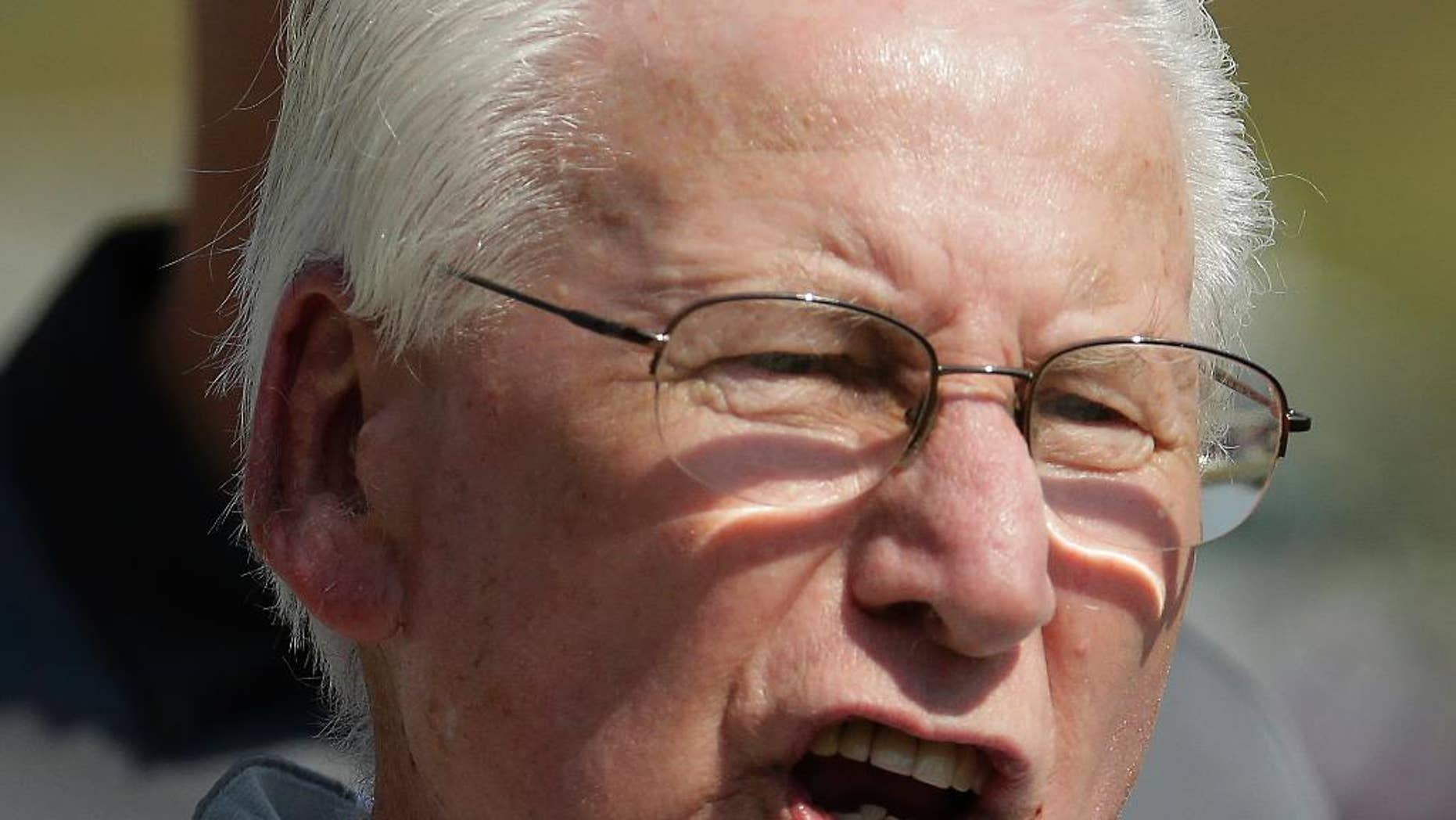 Kansas State head coach Bill Snyder talks to an official during the first half of an NCAA college football game against UTEP, Saturday, Sept. 27, 2014, in Manhattan, Kan. (AP Photo/Charlie Riedel)