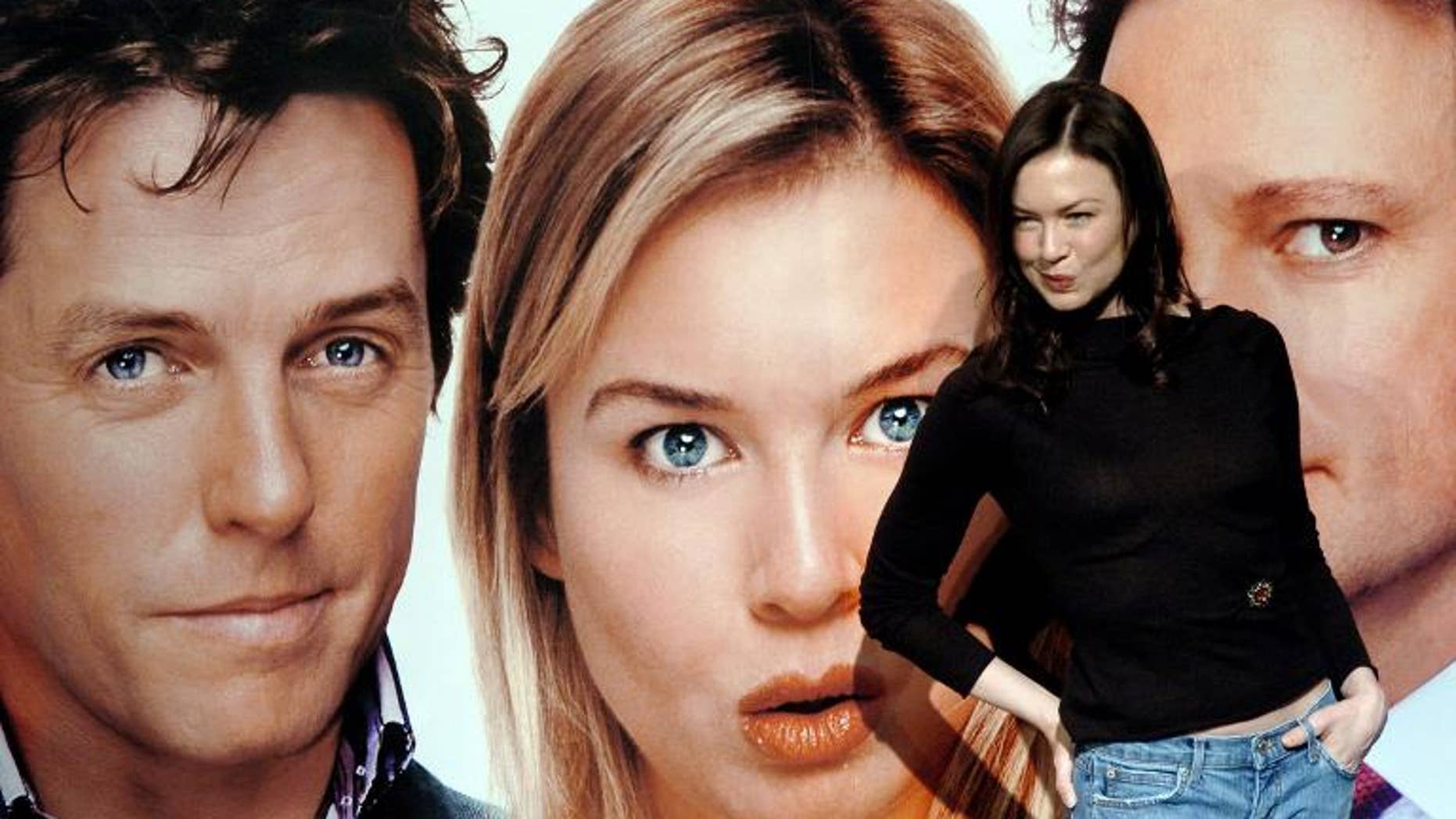"""Actress Renee Zellweger poses in front of a poster for filme """" Bridget Jones: The Edge of Reason """" in Taipei, December 3, 2004"""