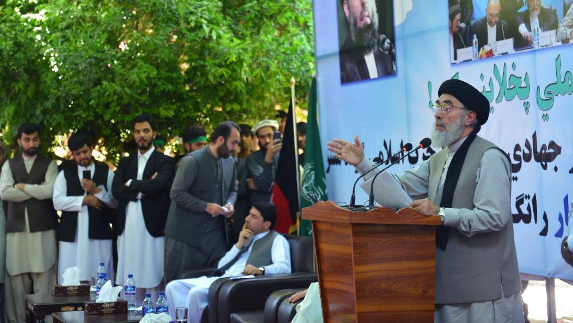 Warlord Gulbuddin Hekmatyar speaking in Mihtarlam city, the capital of eastern Laghman province, Afghanistan, on Saturday.