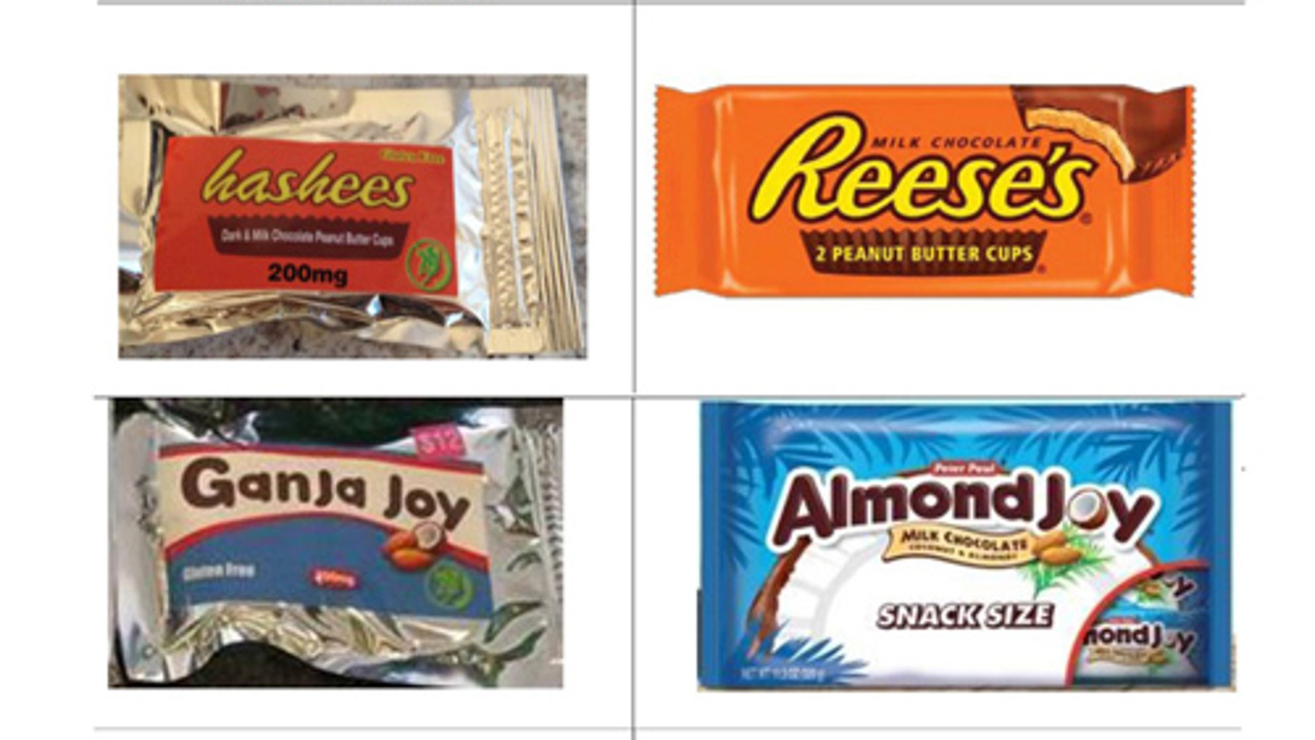 Hershey's chocolate products next to TinctureBelle LLC candy.