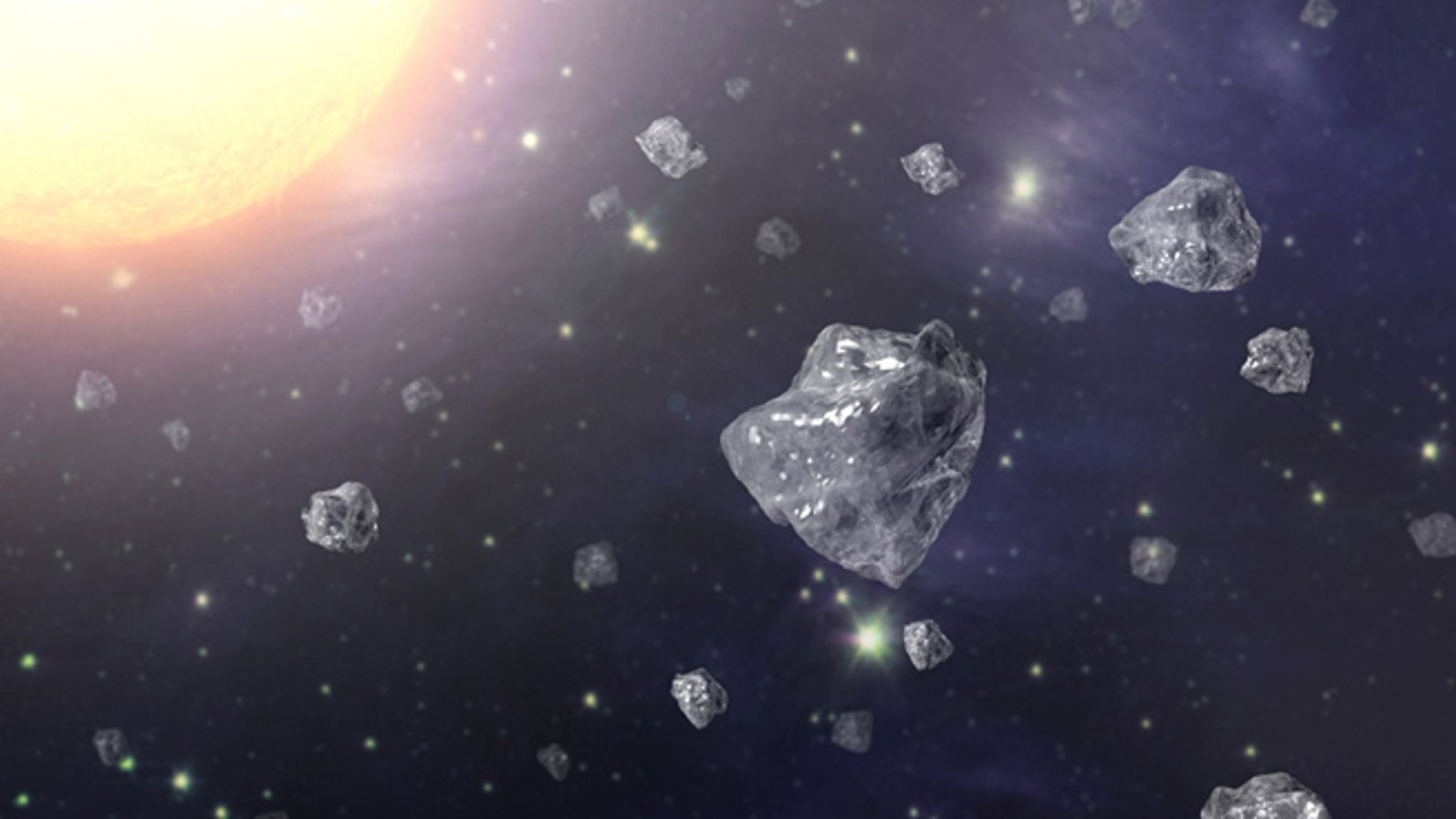 An artist's conception of a multitude of tiny diamonds next to a hot star.