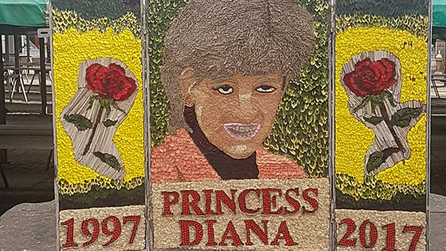 A tribute made in honor of Princess Diana of Wales for the 20th anniversary of her death in the Chesterfield Market Place.