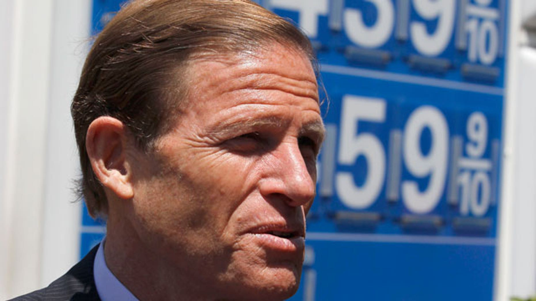 Sen. Richard Blumenthal, D-Conn. gestures during a news conference at a Exxon gas station on Capitol Hill in Washington, Wednesday, May 11, 2011. (AP)