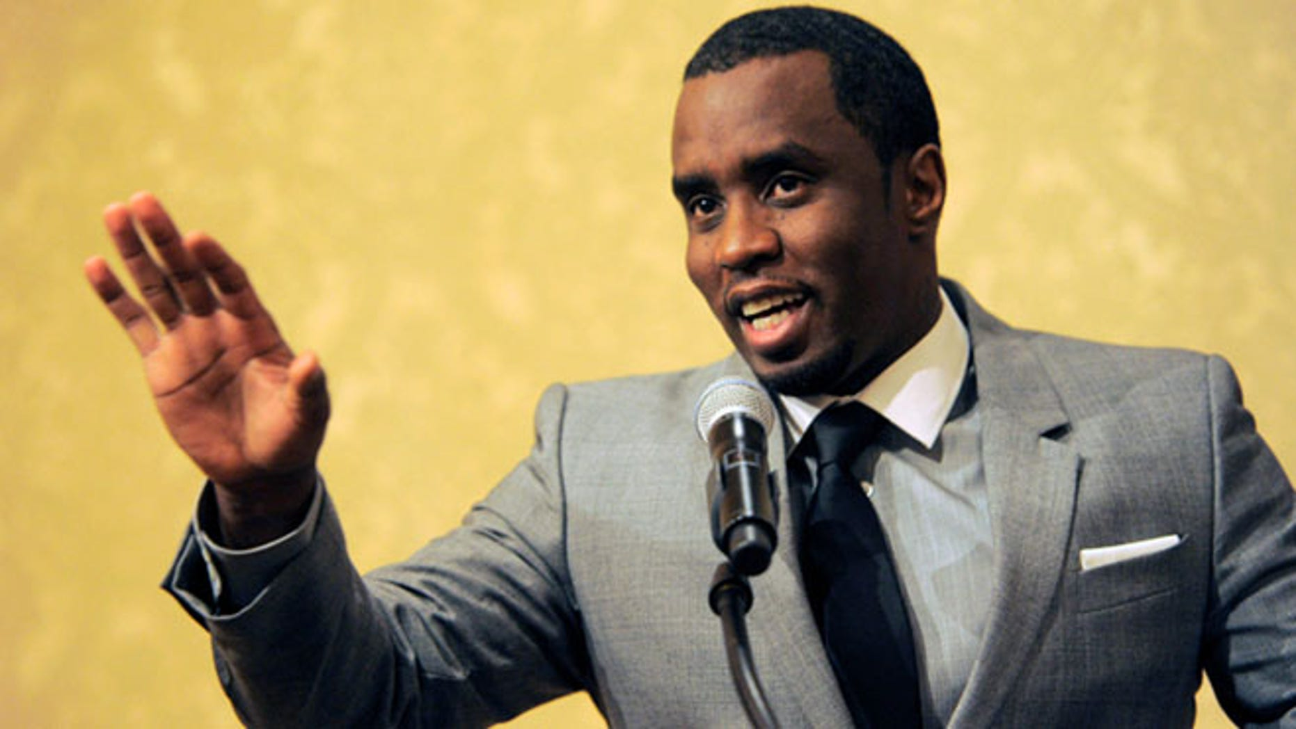 "In this 2013 file photo, Sean ""Diddy"" Combs of the new network Revolt TV addresses reporters at the Beverly Hilton Hotel in Beverly Hills, Calif."