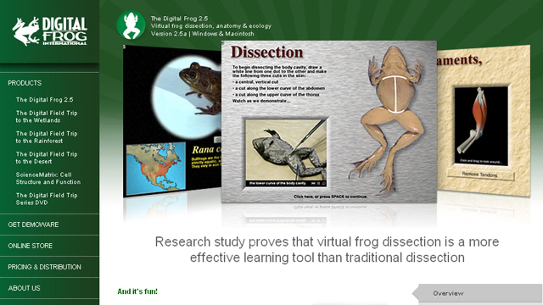 The website for The Digital Frog, software that lets students virtually dissect frogs.
