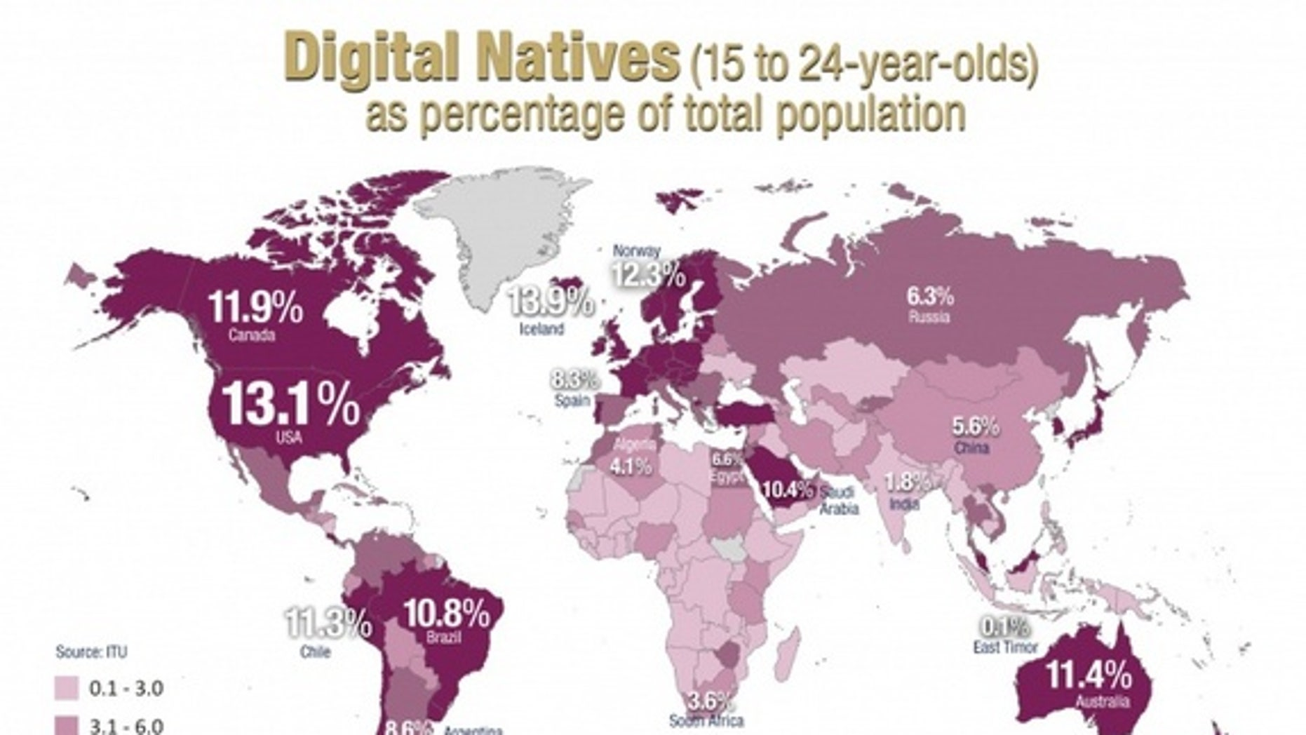 Digital natives as a percentage of each country's total population.