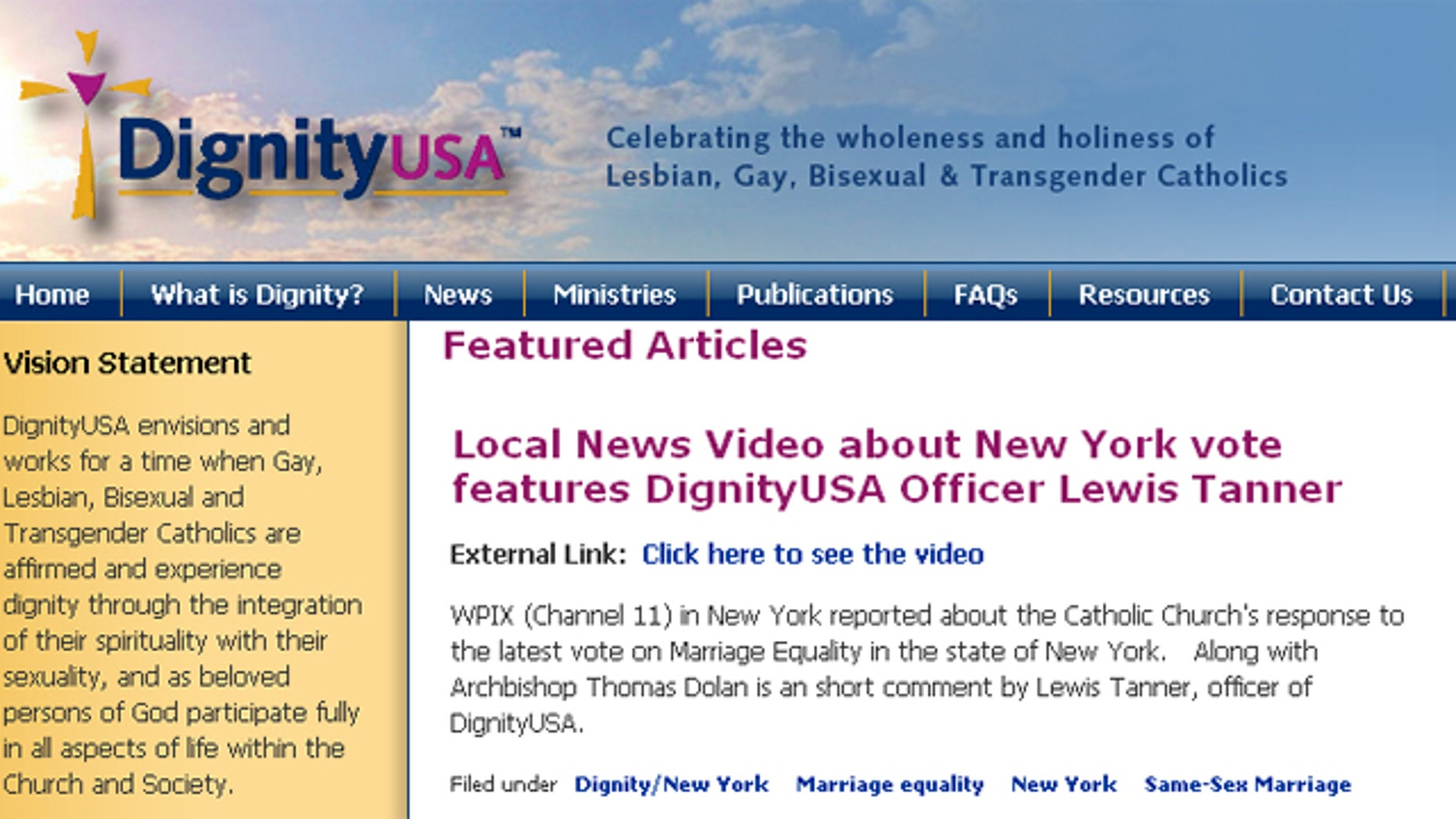 Shown here is the homepage of DignityUSA, one of the sites blocked by a Missouri school district's filters.
