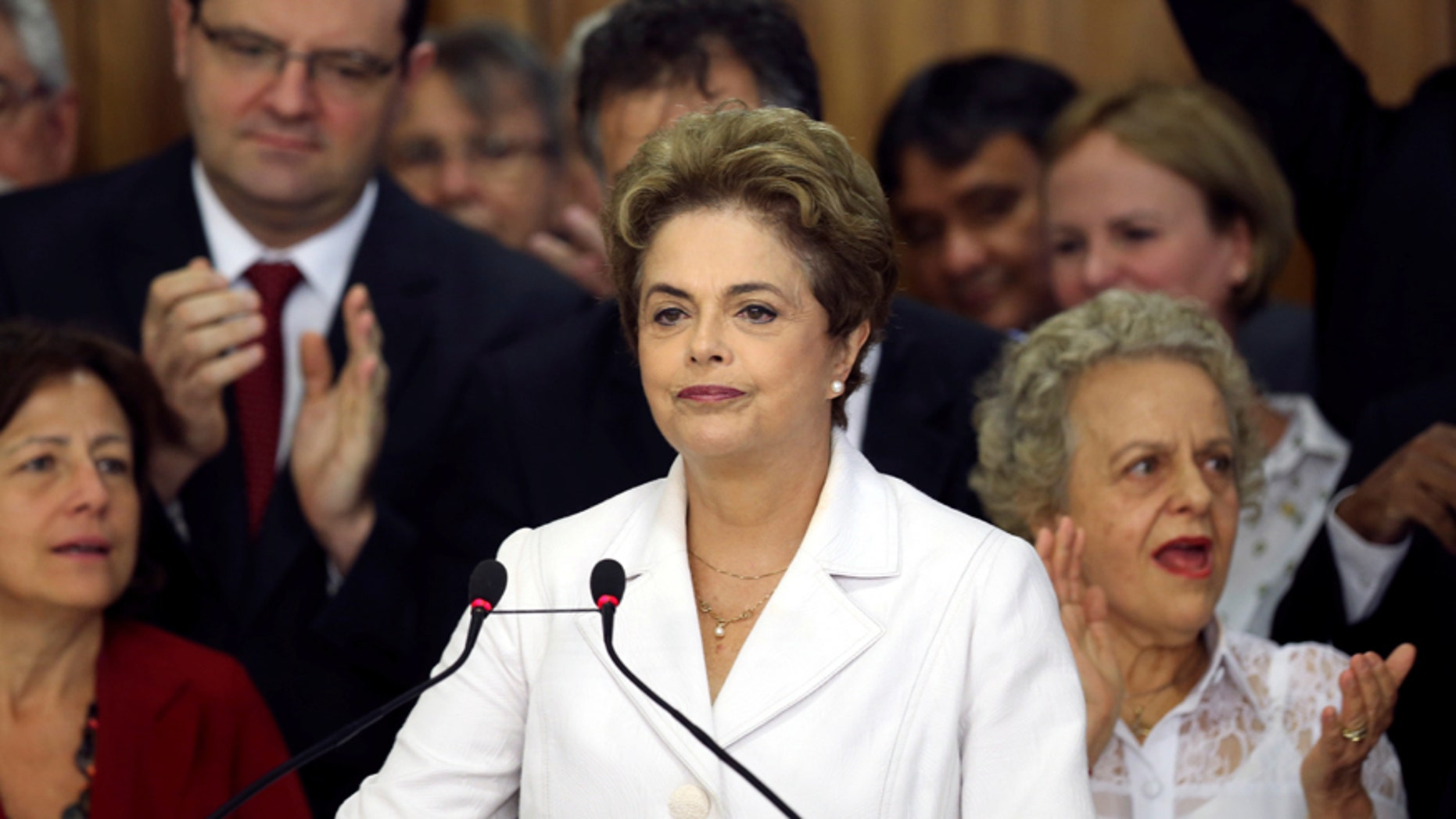 May 12, 2016: Suspended Brazilian President Dilma Rousseff addresses the audience after the Brazilian Senate voted to impeach her for breaking budget laws, at Planalto Palace in Brasilia, Brazil.