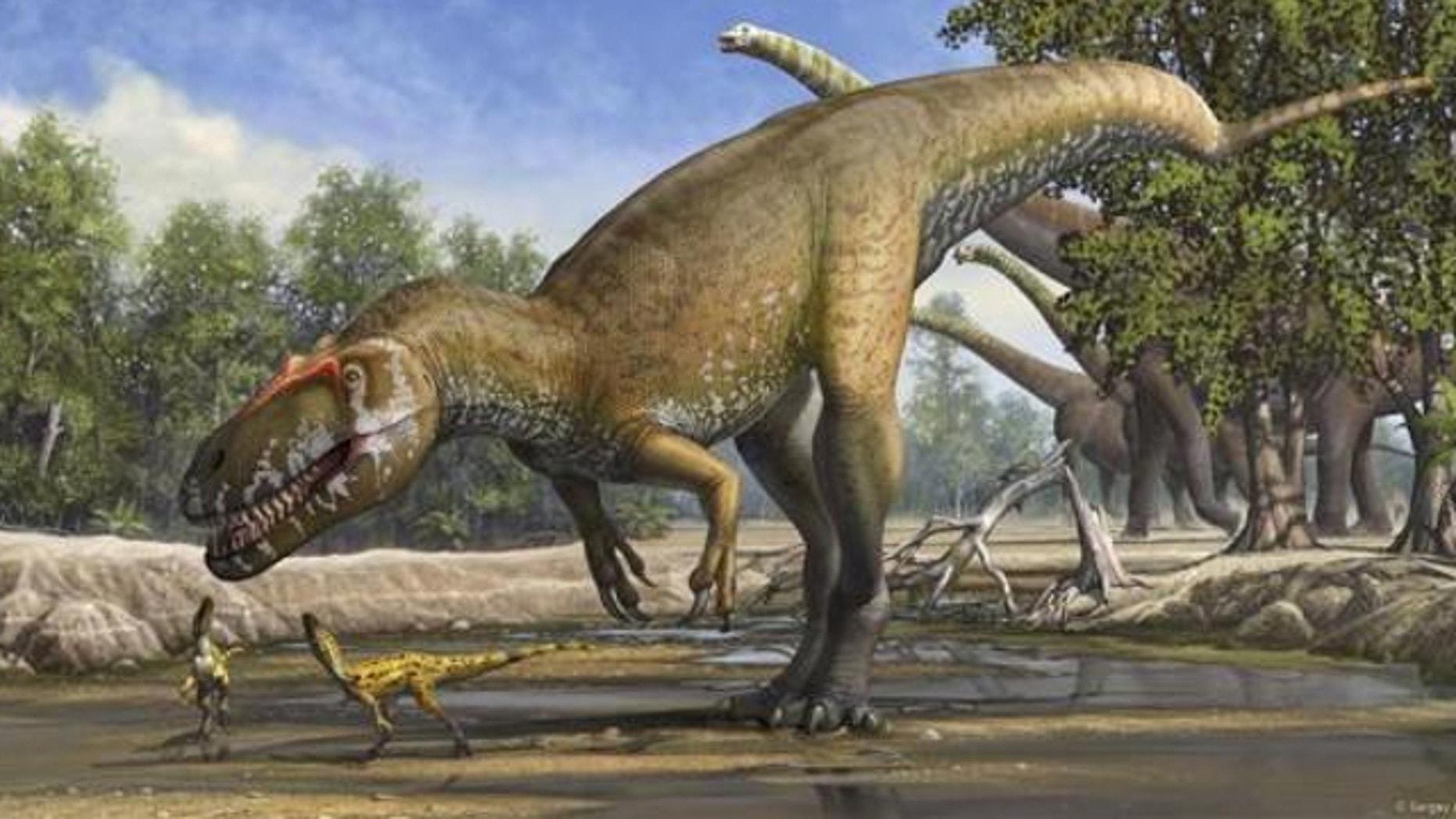 A Torvosaurus gurneyi dinosaur is seen in an undated artist's rendering.