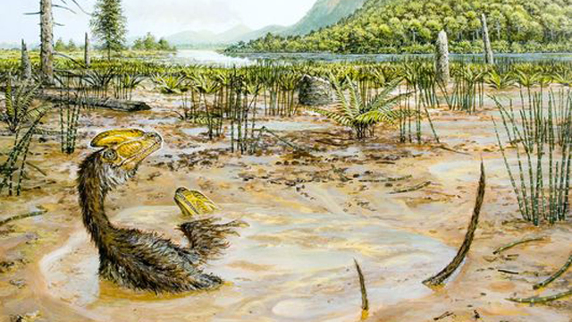 Two small Guanlong wucaii dinosaurs struggle to escape a muddy pit in what is now China during the late Jurassic period.