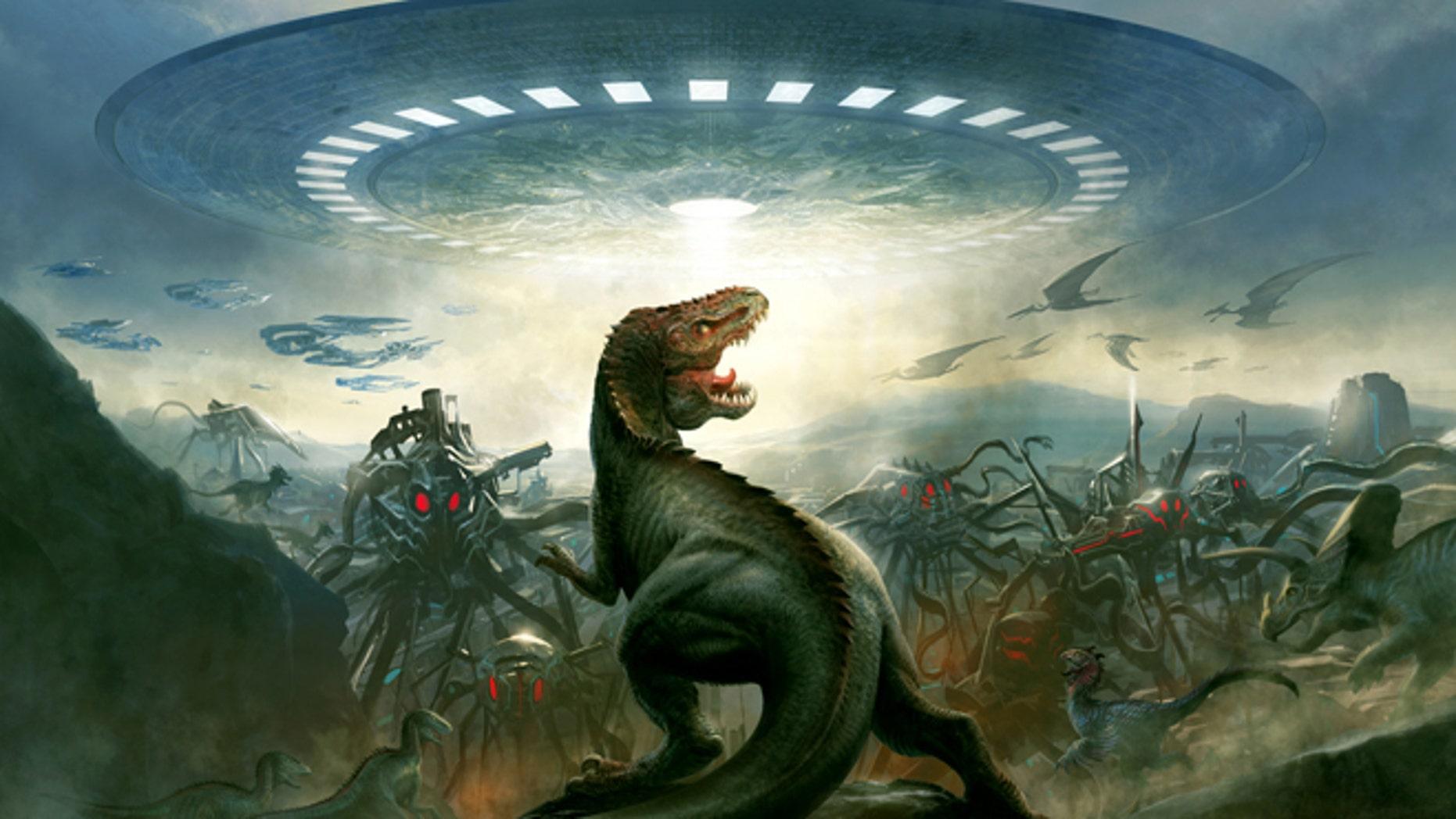 Liquid Comics' interactive digital app, E-Book and graphic novel Dinosaurs Vs. Aliens pits supersmart dinosaurs against supersmart aliens.