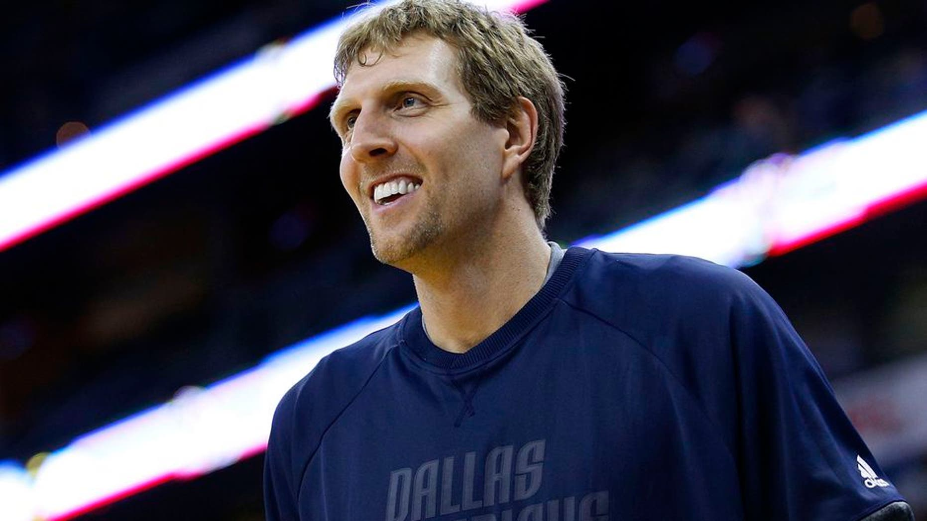 NEW ORLEANS, LA - MARCH 29: Dirk Nowitzki #41 of the Dallas Mavericks reacts during a game against the New Orleans Pelicans at the Smoothie King Center on March 29, 2017 in New Orleans, Louisiana. NOTE TO USER: User expressly acknowledges and agrees that, by downloading and or using this photograph, User is consenting to the terms and conditions of the Getty Images License Agreement. (Photo by Jonathan Bachman/Getty Images)