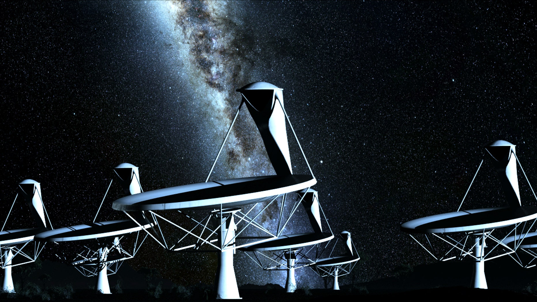 An artist's impression of the radio dishes that would make up the Square Kilometer Array, planned to be the world's biggest and most sensitive telescope and part of the quest for exterrestrial life..