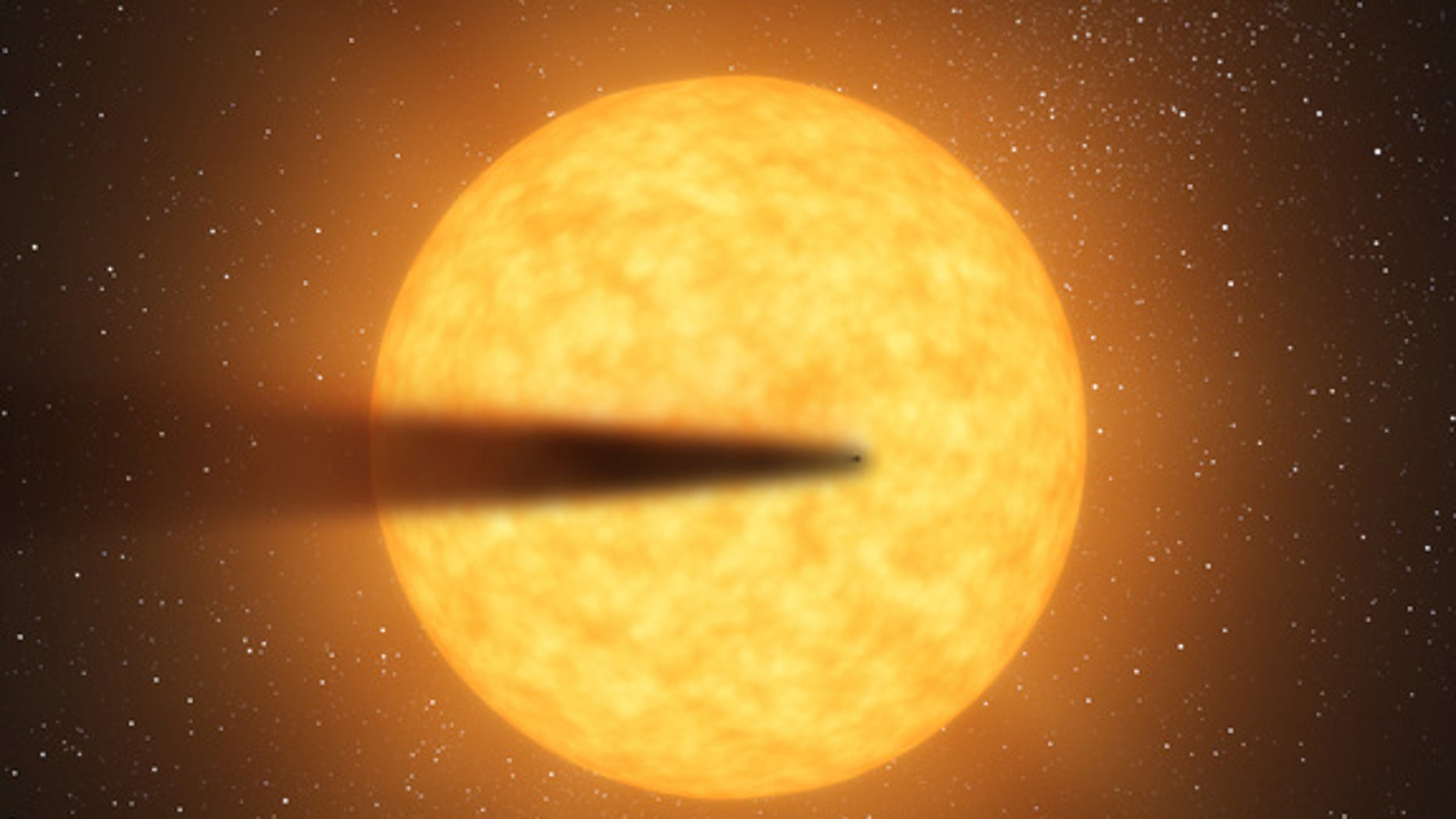 This artist's concept depicts a cometlike tail of a possible disintegrating super Mercury-size planet candidate as it transits, or crosses, its parent star, named KIC 12557548. At an orbital distance of only twice the diameter of its star, the
