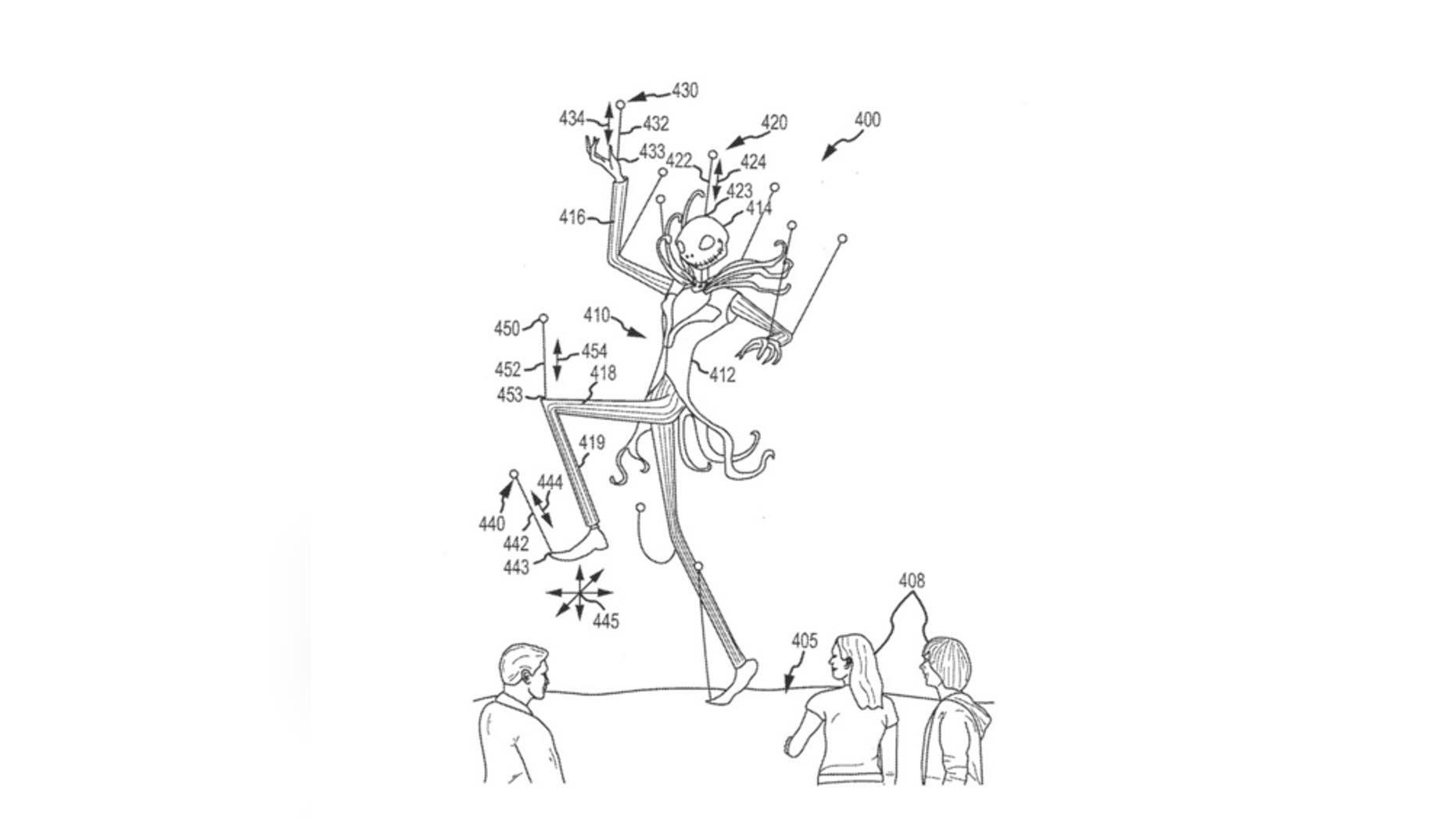 An illustration from a patent filed by Disney on Aug. 21 shows how drones could control a huge puppet's dance moves.