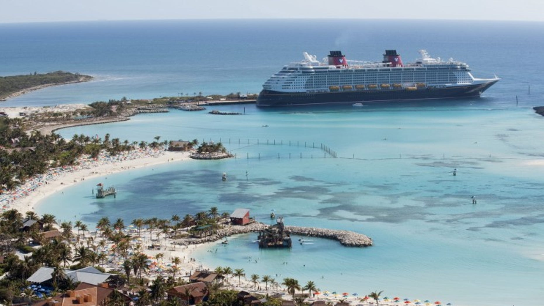 The Disney dream docks at Castaway Cay, Disney's private island in the Bahamas.