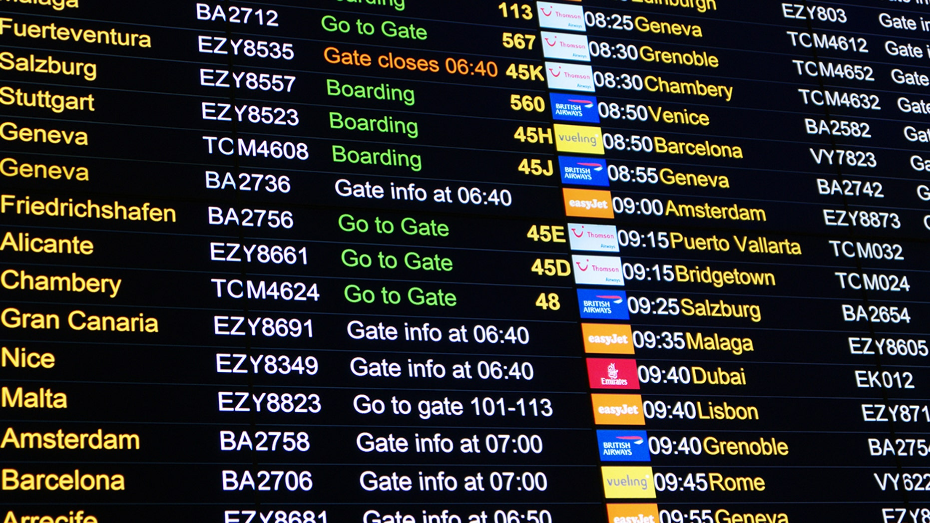 A technical difficulty at Gatwick Airport that rendered the display screens useless forced employees to write flight information on whiteboards.