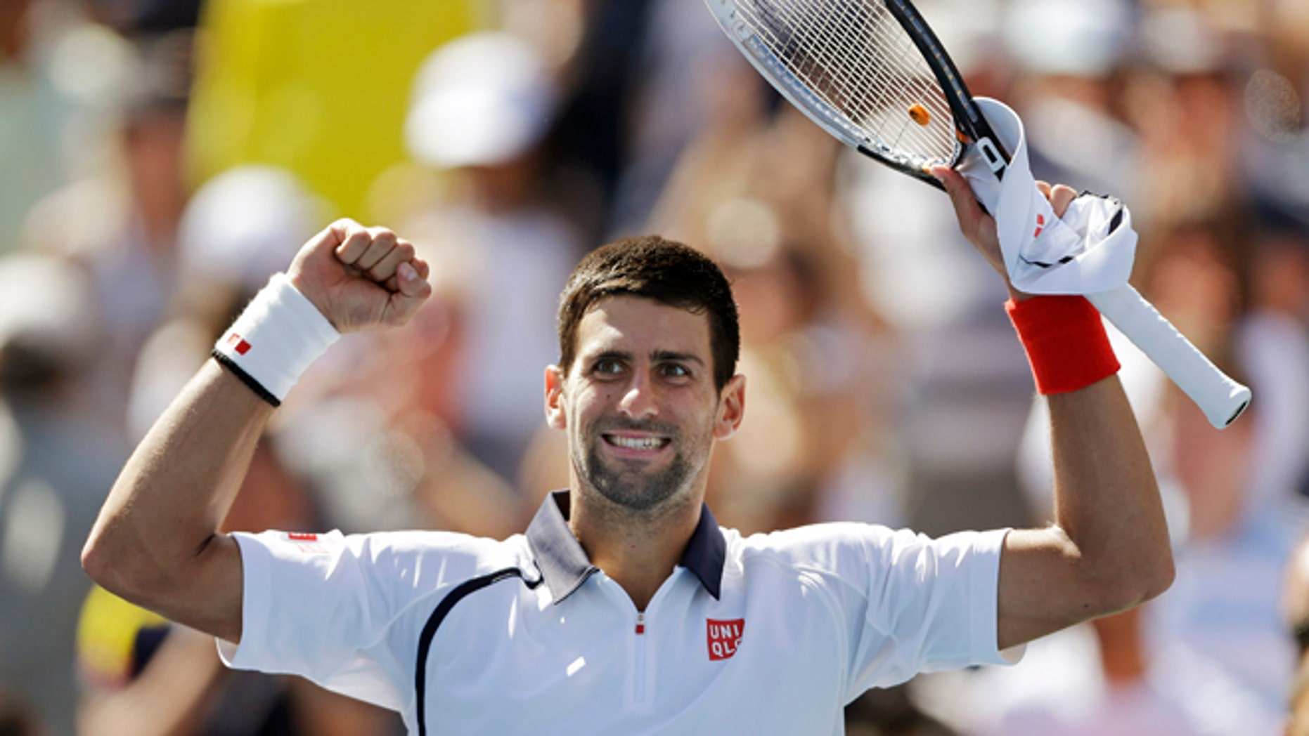 September 9, 2012: Novak Djokovic of Serbia reacts after beating Spain's David Ferrer during a semifinal match at the 2012 US Open tennis tournament in New York.