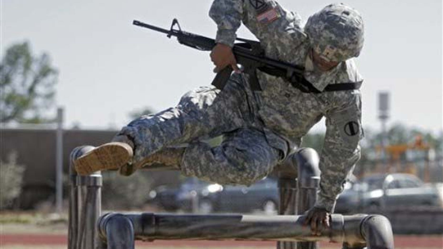 A soldier participating in physical training.
