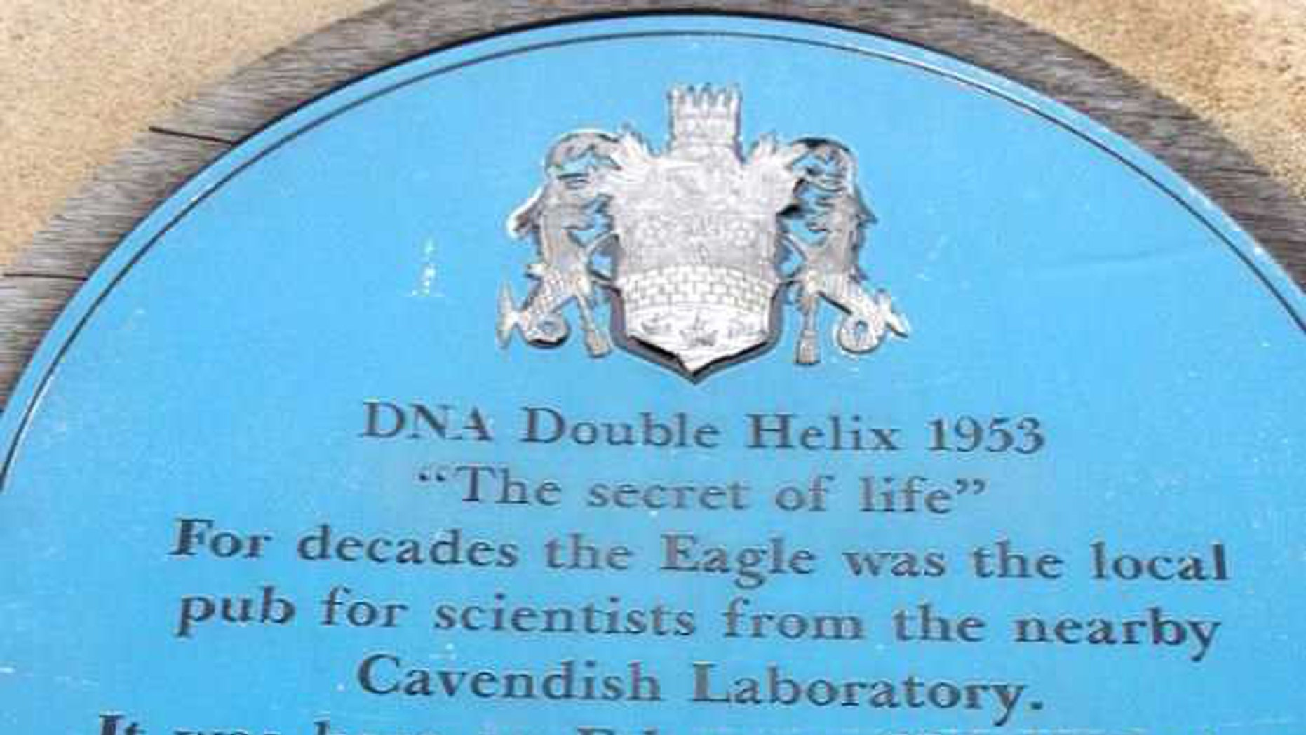 A picture of the vandalized Watson and Crick plaque outside The Eagle pub in Cambridge, England. (Credit: SWNS)